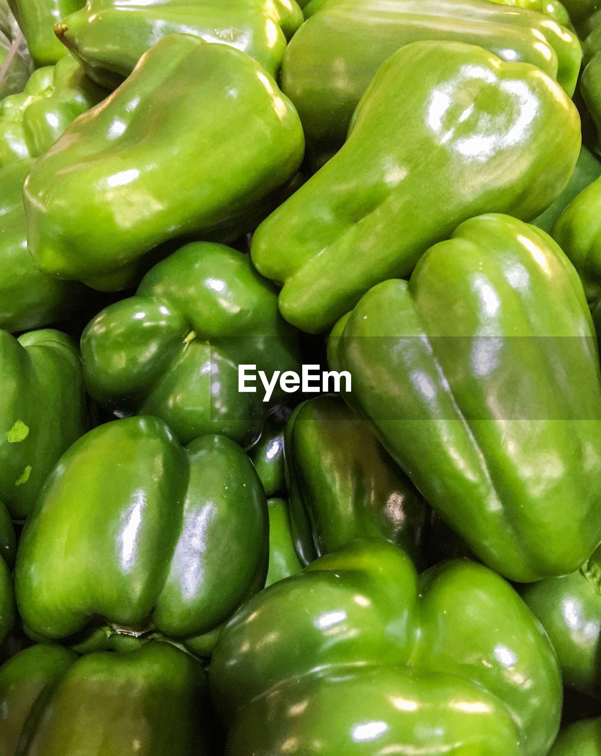 Full frame shot of bell peppers for sale at market