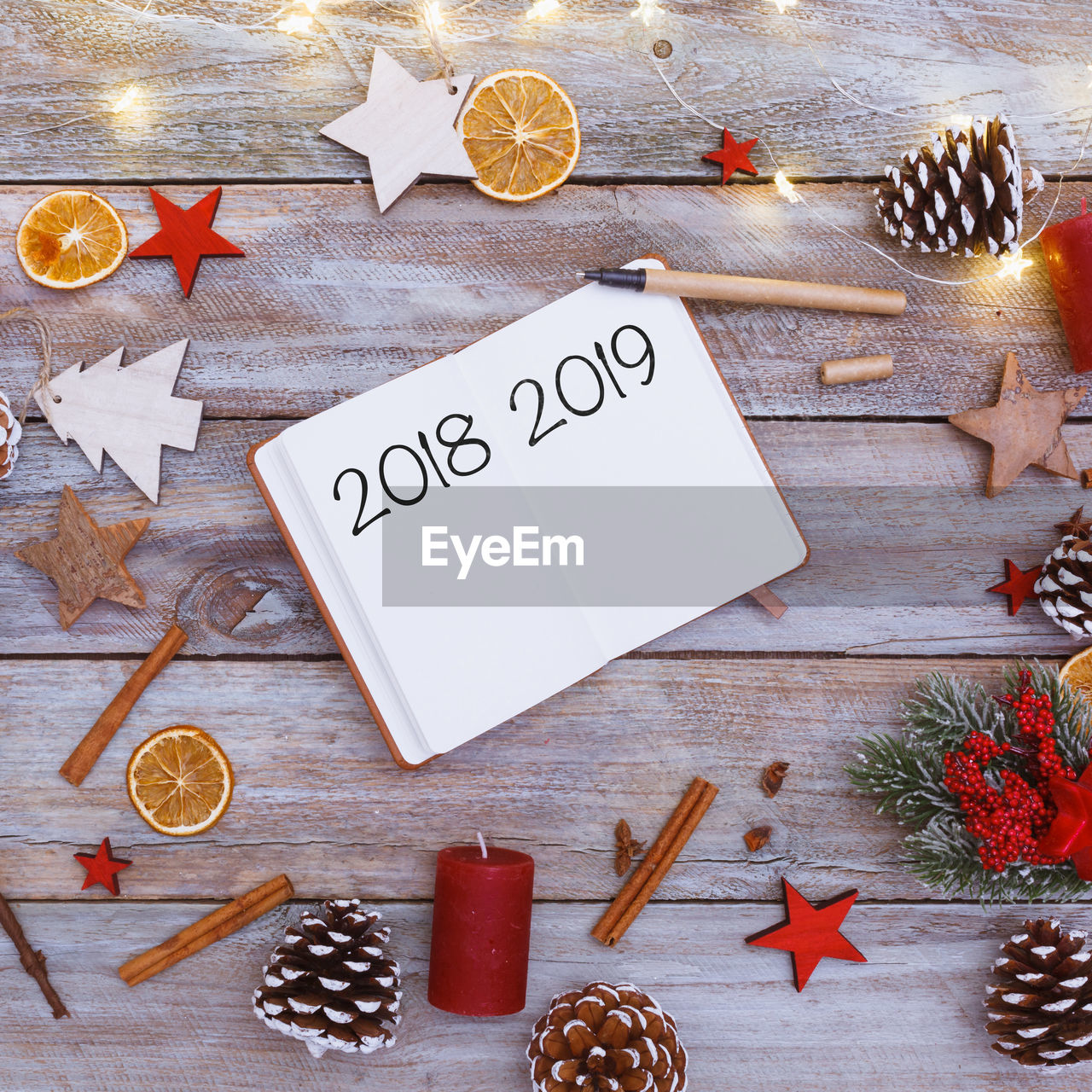 High Angle View Of New Year By Decorations On Table