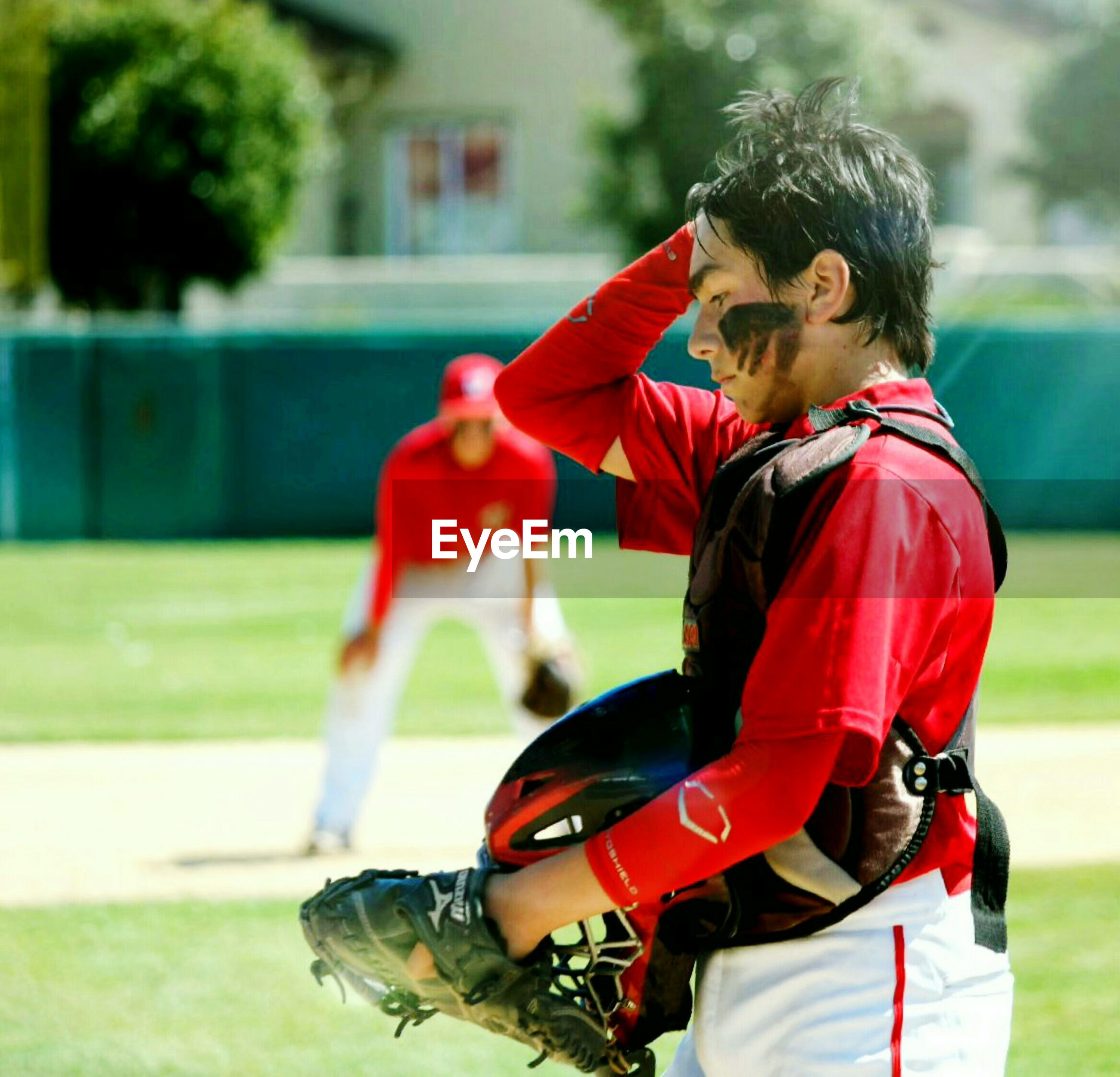 Side view of baseball player on field