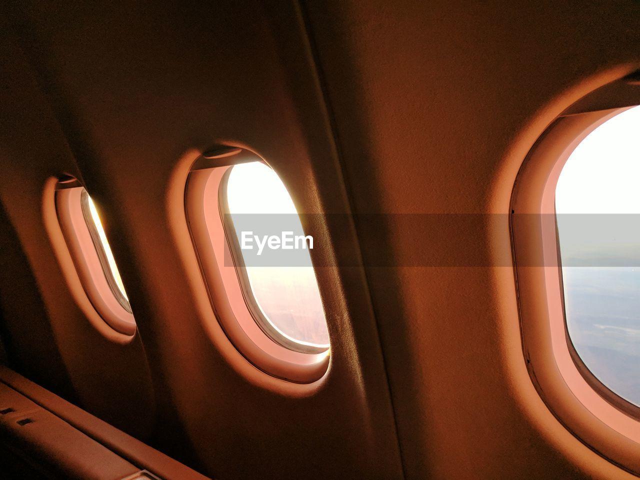 Close-up of airplane windows