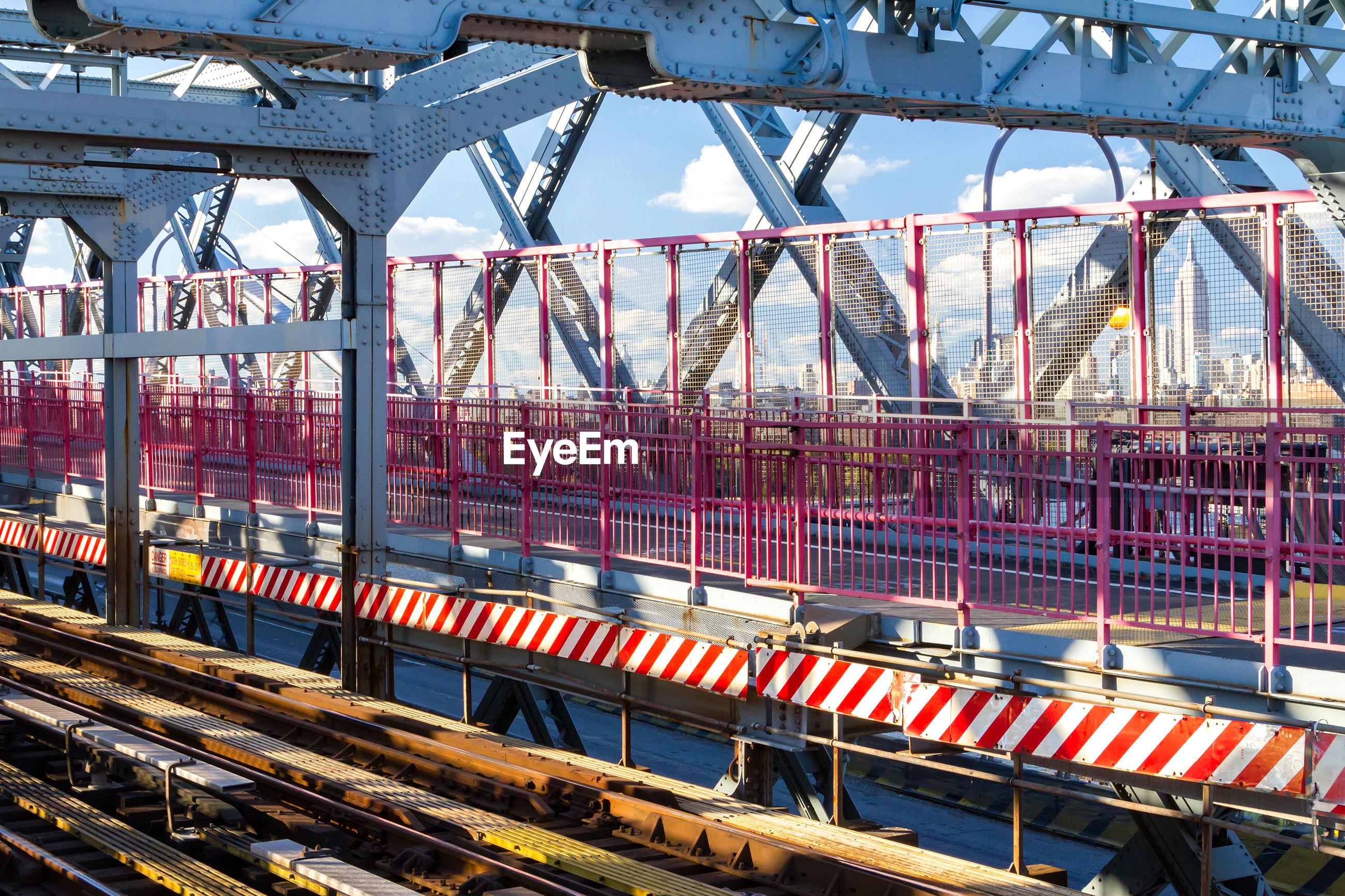 TRAIN ON BRIDGE IN RAILROAD TRACKS