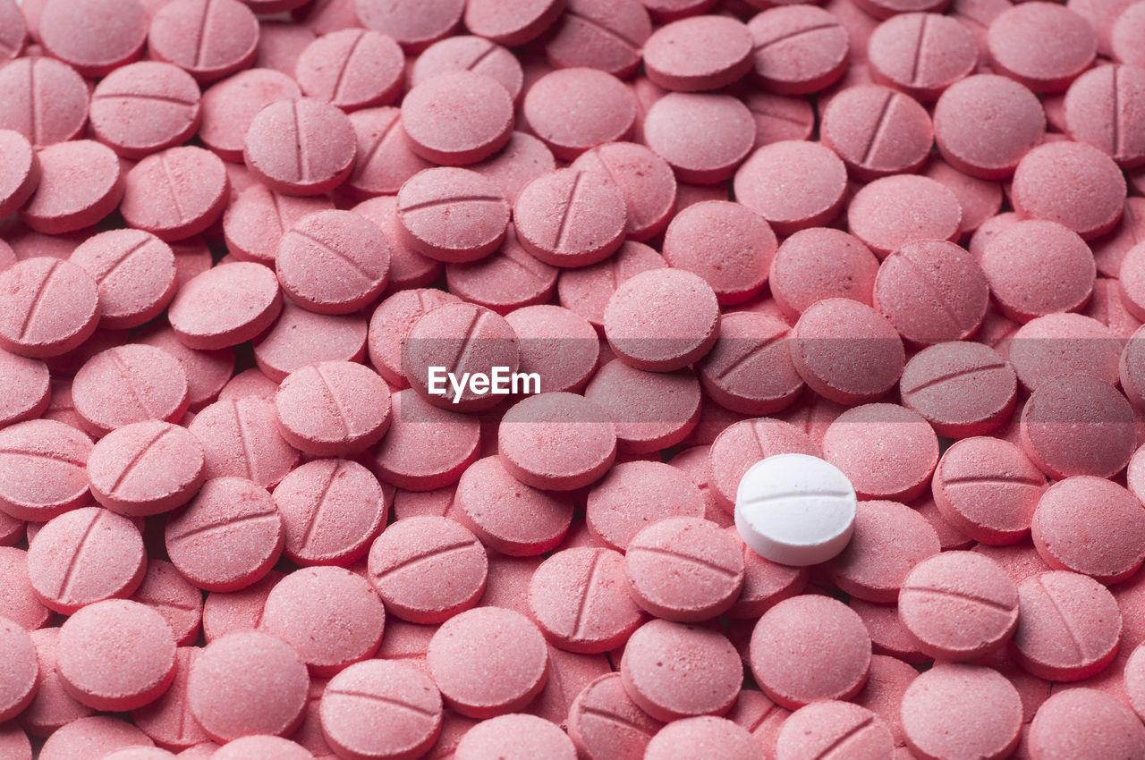 Close-up of pink pills