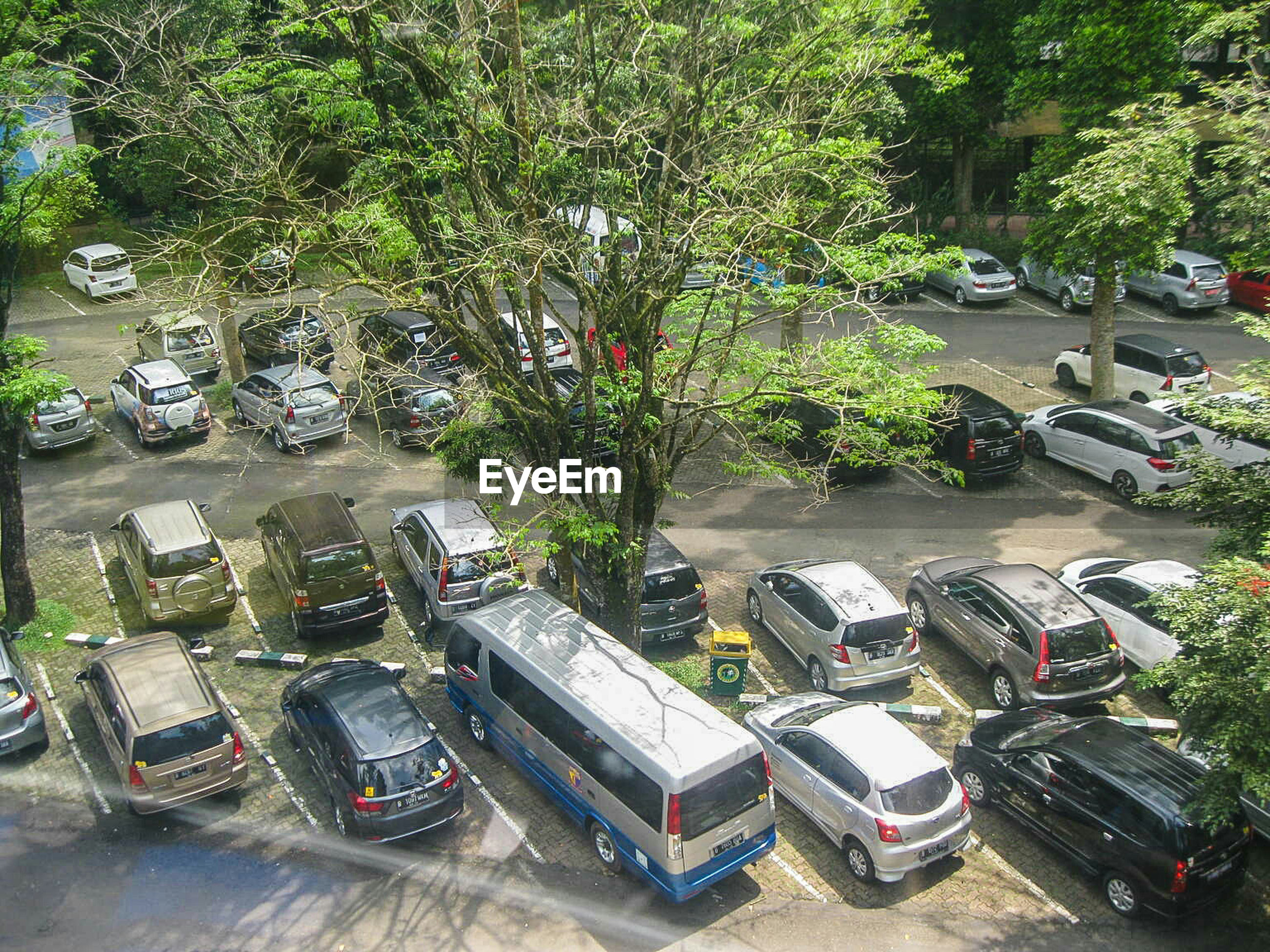 High angle view of parked cars