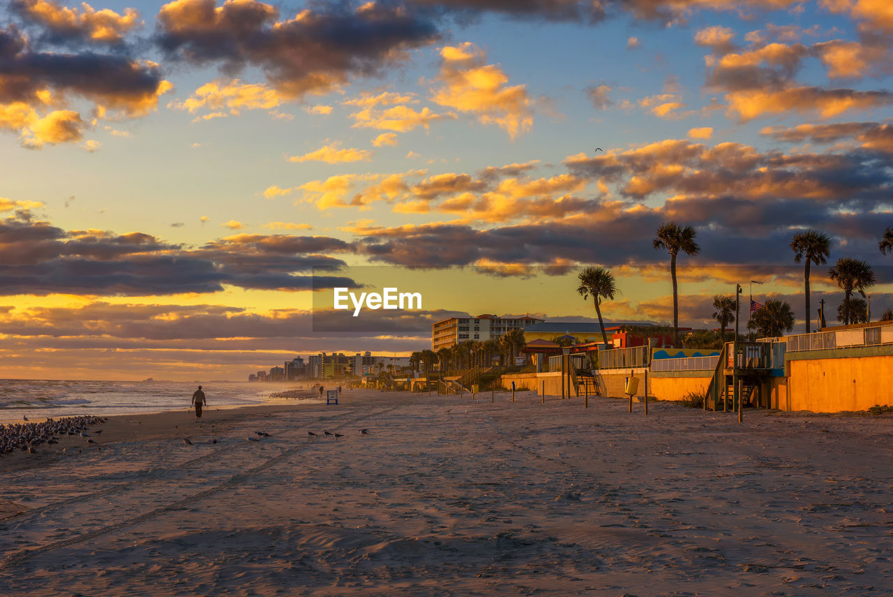 SCENIC VIEW OF BEACH DURING SUNSET AGAINST SKY