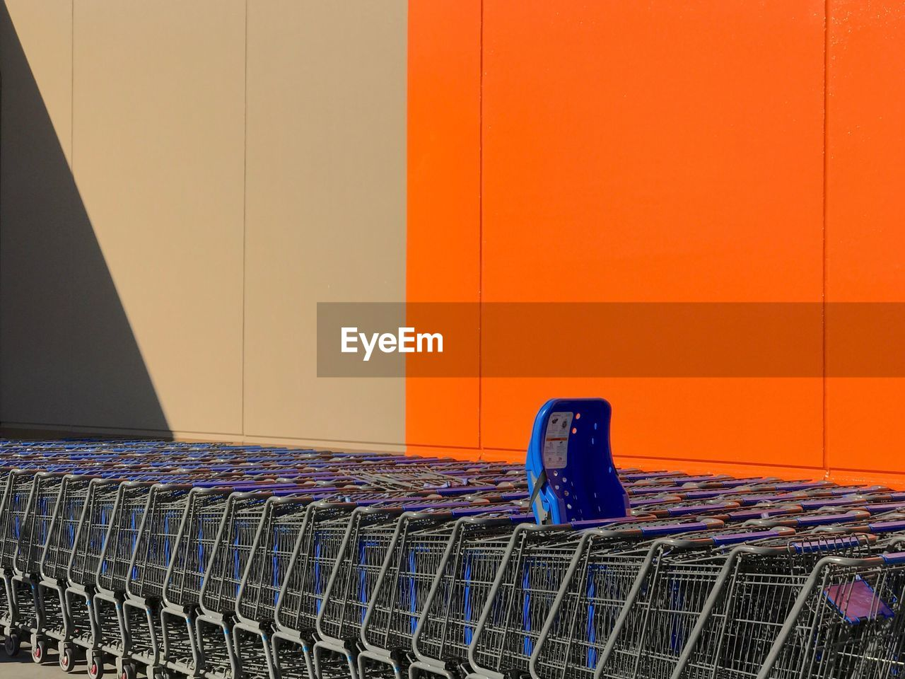 Shopping Carts Against Wall