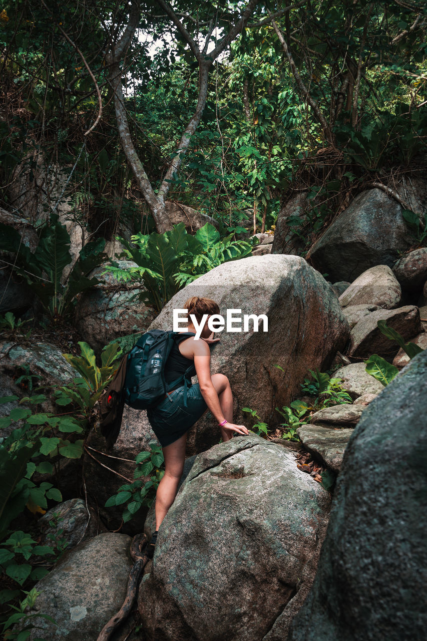 rock, rock - object, solid, one person, full length, tree, forest, adventure, nature, plant, land, young adult, leisure activity, day, casual clothing, real people, adult, side view, outdoors, woodland