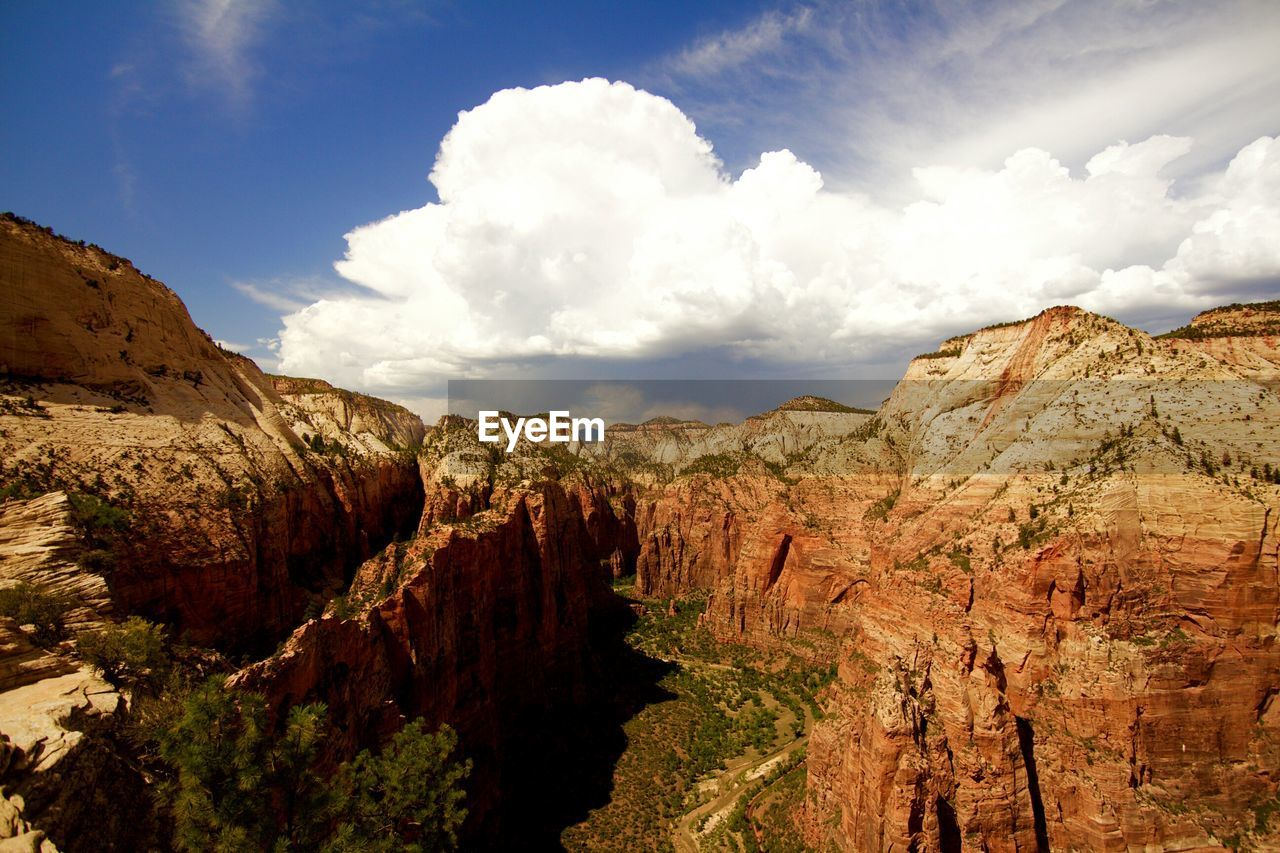 Scenic View Of Angels Landing At Zion National Park