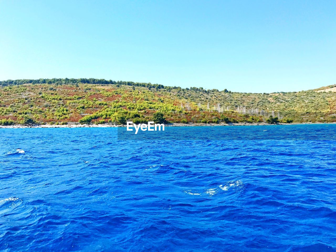 blue, sea, nature, beauty in nature, clear sky, scenics, no people, tranquility, tranquil scene, outdoors, summer, water, holiday, landscape, day, wave, tree, sky