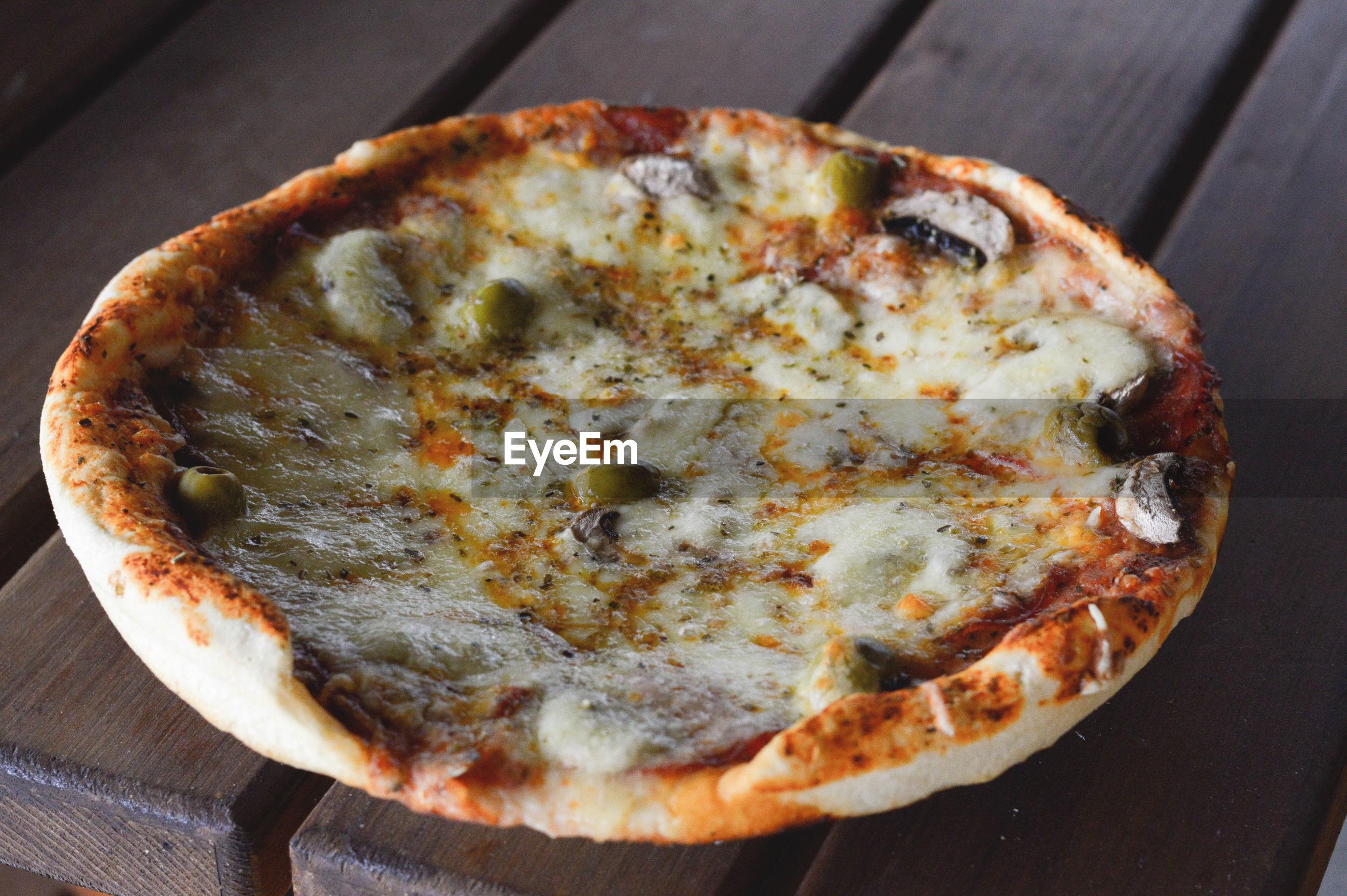 High angle view of tart on table