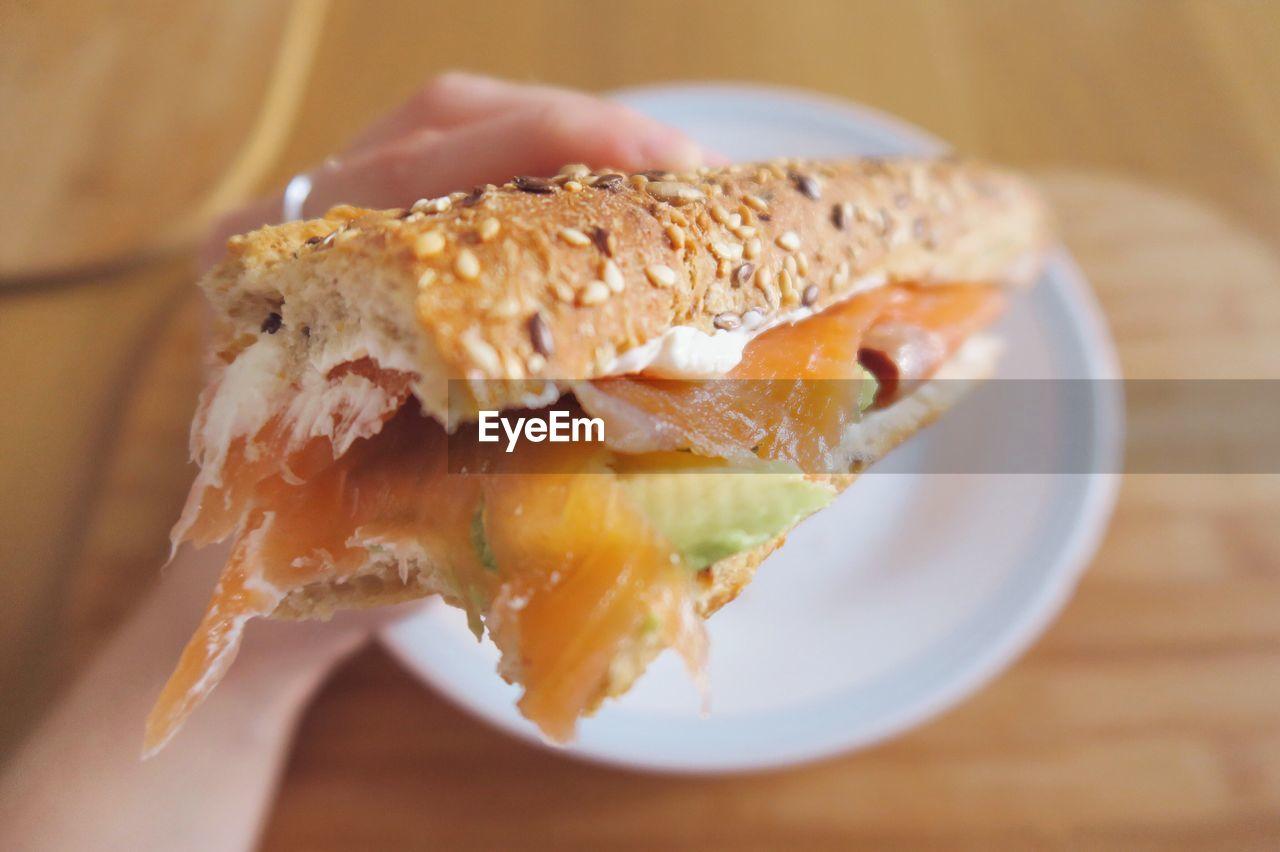 Close-Up Of Salmon Sandwich