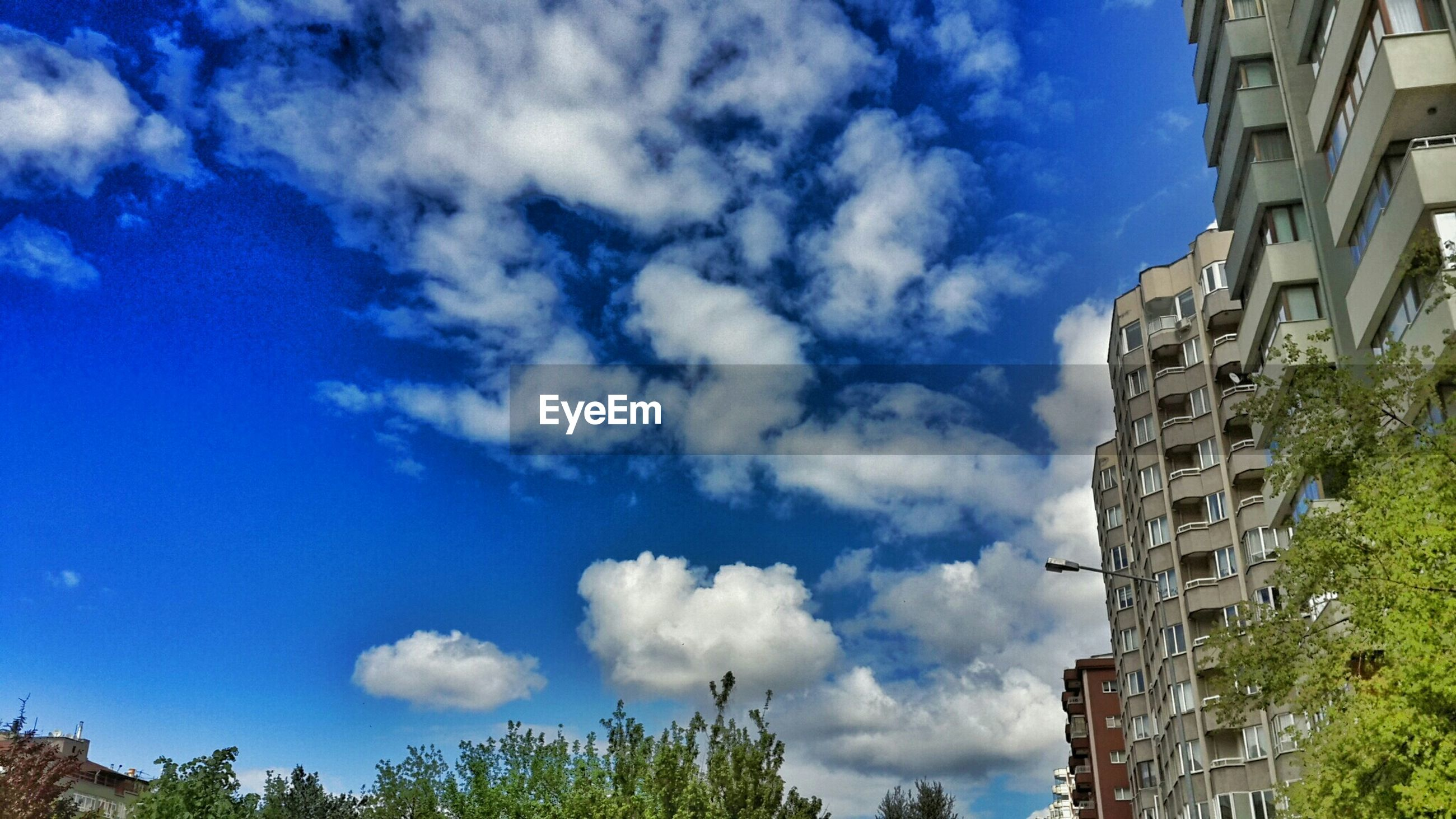 building exterior, architecture, built structure, sky, blue, low angle view, cloud - sky, tree, cloud, building, day, house, residential structure, outdoors, cloudy, residential building, city, no people, growth, sunlight