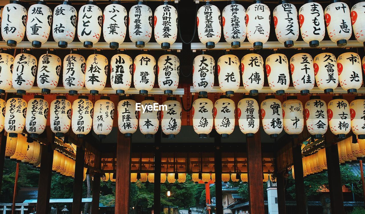 Lanterns With Text Hanging On Temple