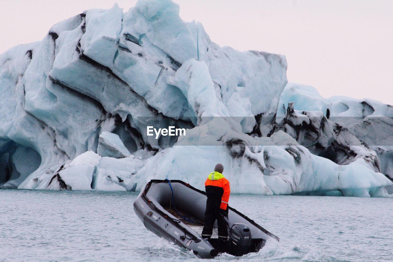 Man on motorboat