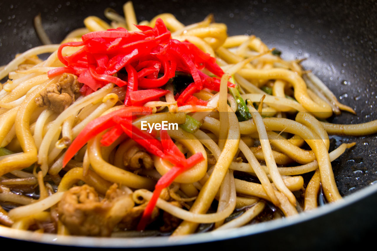 Close-Up Of Udon Noodles In Cooking Pan