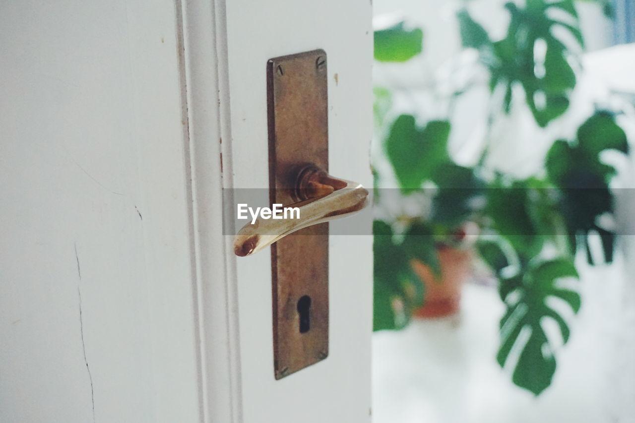 High angle view of open door