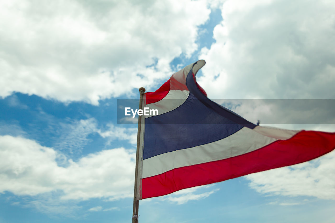 cloud - sky, sky, flag, patriotism, red, low angle view, nature, environment, wind, pole, day, no people, white color, pride, emotion, waving, outdoors, striped, independence, national icon