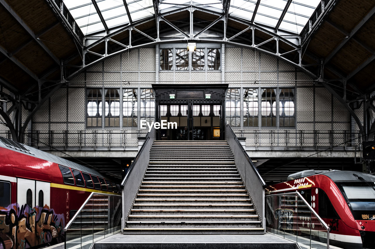 built structure, architecture, indoors, steps and staircases, railroad station, transportation, steps, public transportation, rail transportation, day, transportation building - type of building, no people