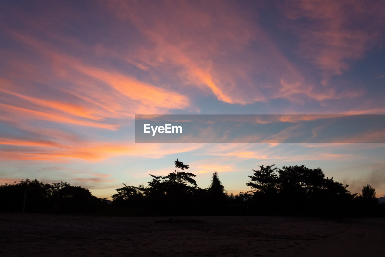 sunset, sky, cloud - sky, tree, beauty in nature, tranquility, silhouette, plant, tranquil scene, orange color, scenics - nature, nature, no people, land, non-urban scene, idyllic, field, environment, outdoors, landscape, romantic sky