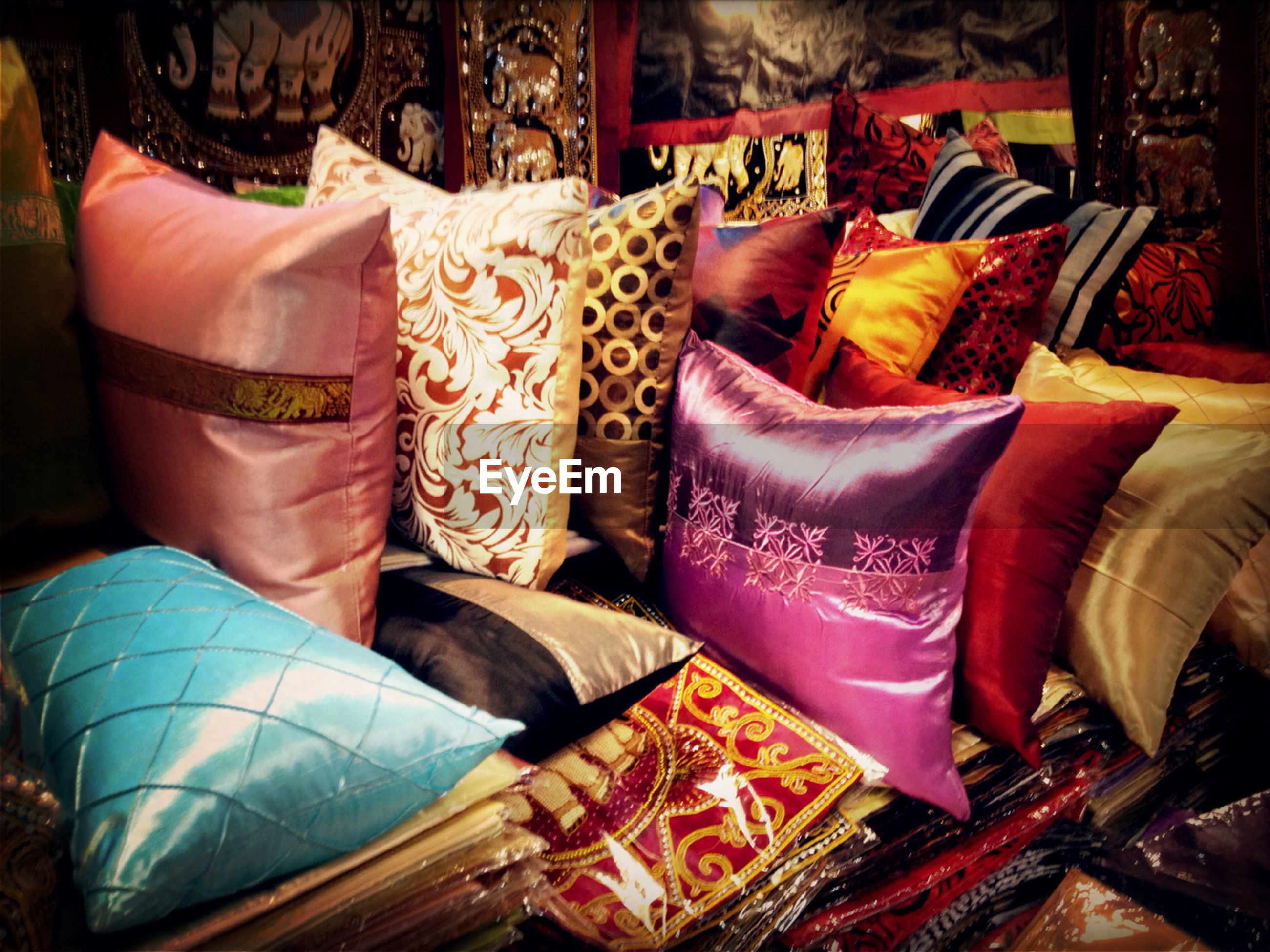 Various pillows for sale in shop