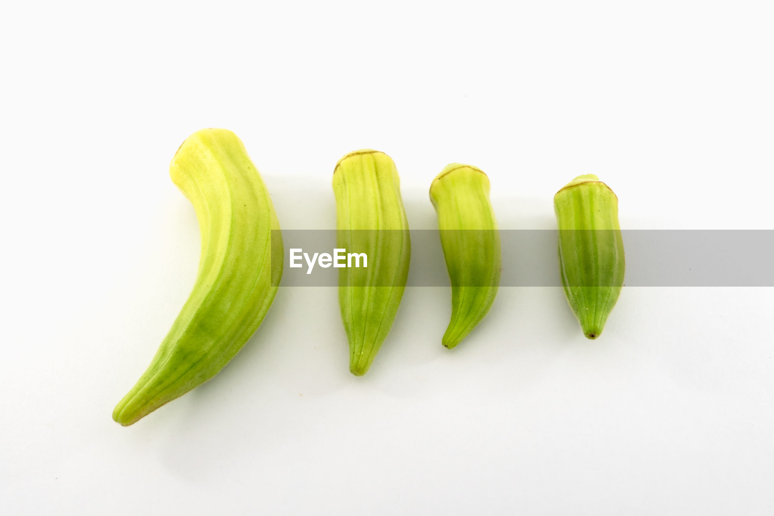HIGH ANGLE VIEW OF GREEN CHILI PEPPER AGAINST WHITE BACKGROUND