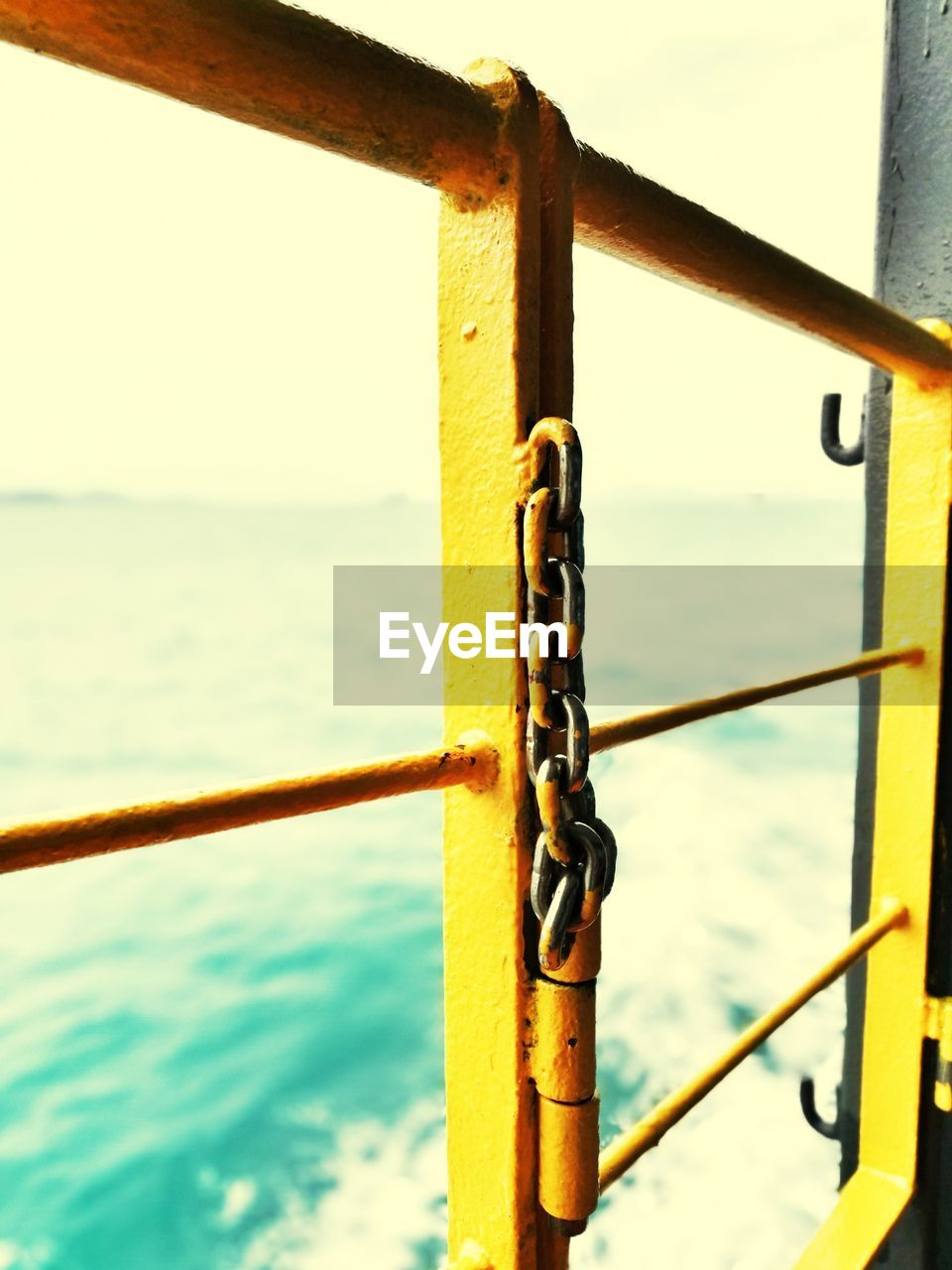 water, sea, railing, padlock, safety, metal, lock, security, close-up, no people, day, focus on foreground, outdoors, love lock, nautical vessel, horizon over water, nature, sky