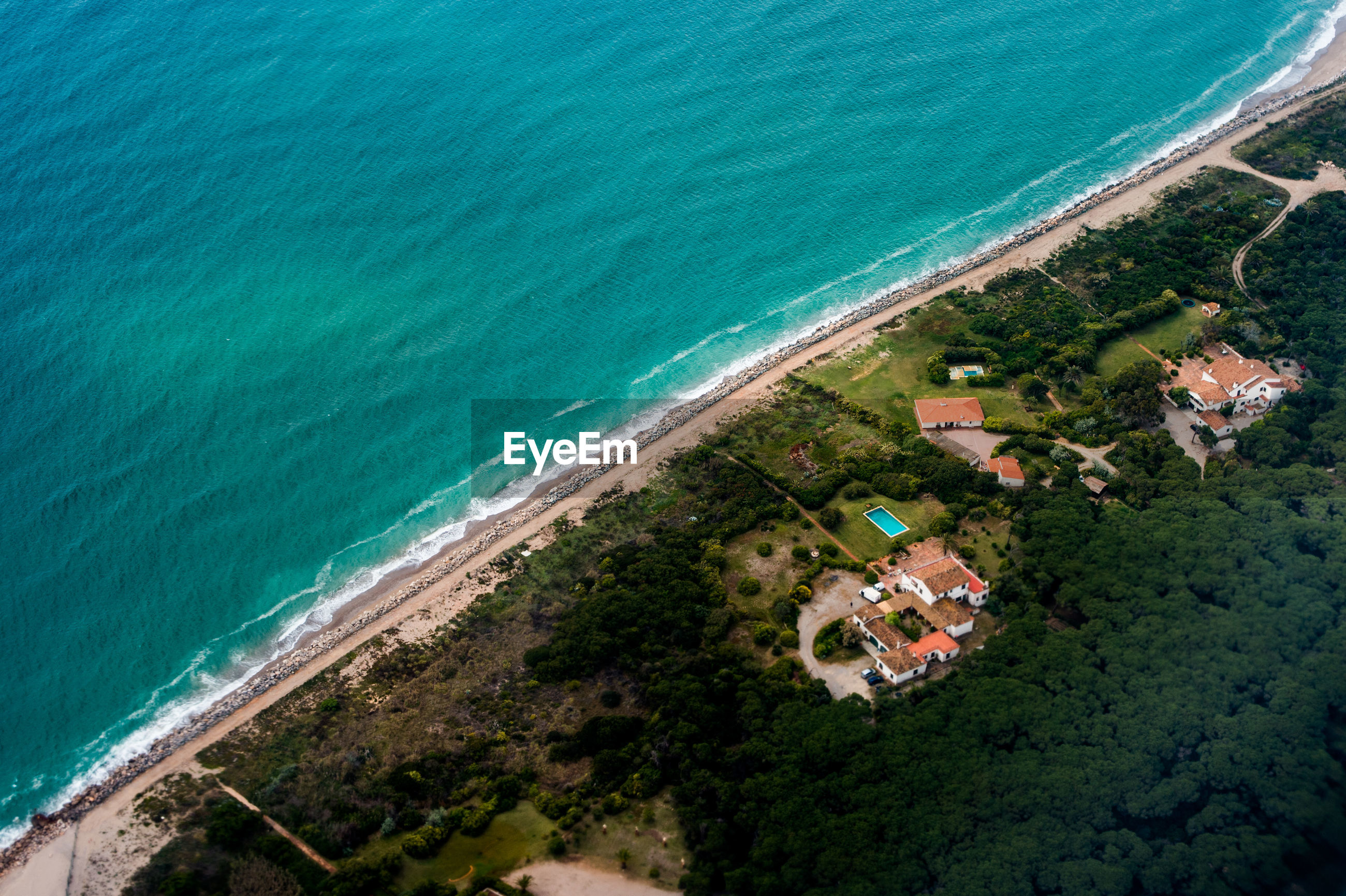Aerial view of barcelonas beach from the flight