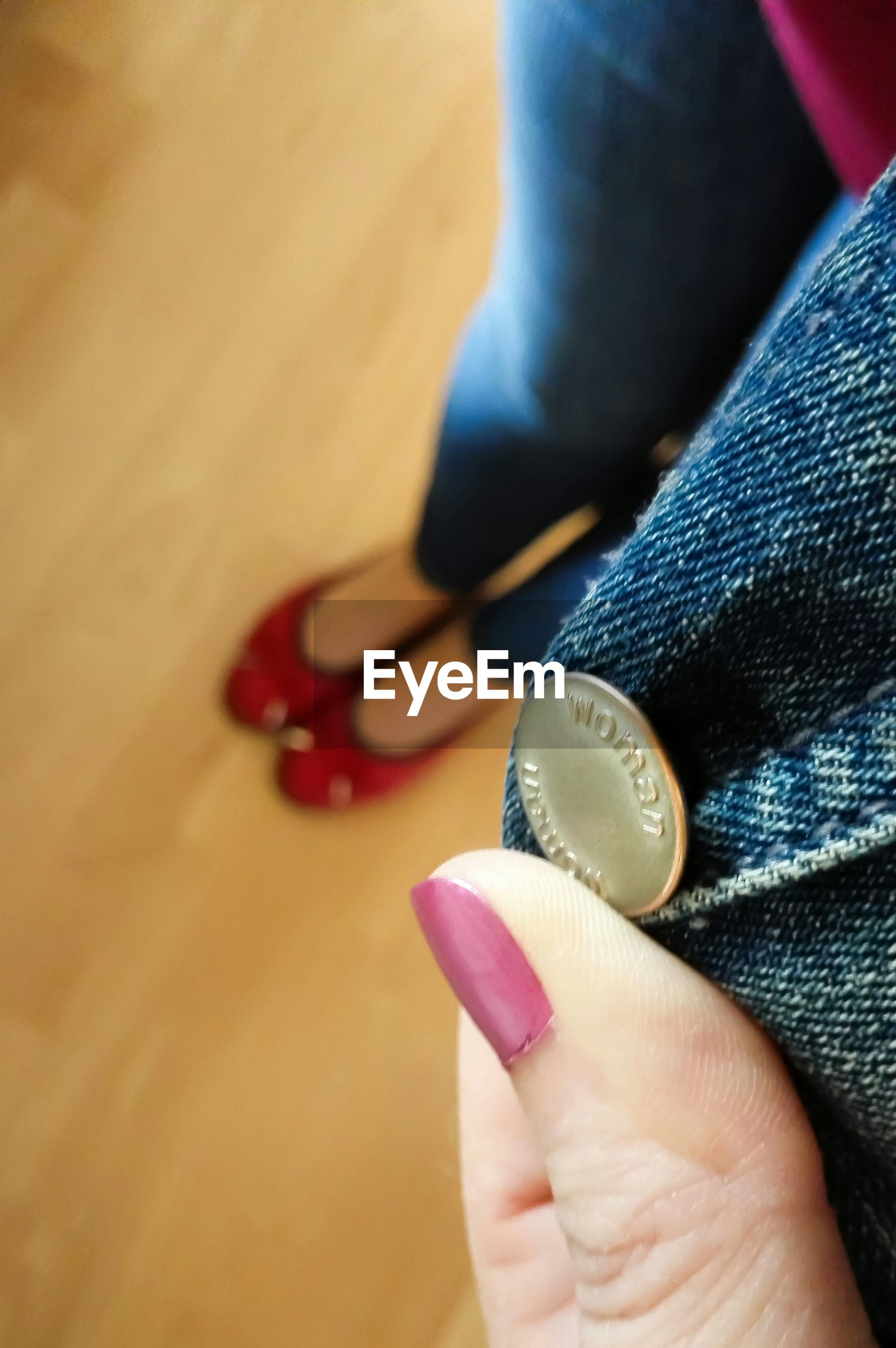 Close-up of jeans button