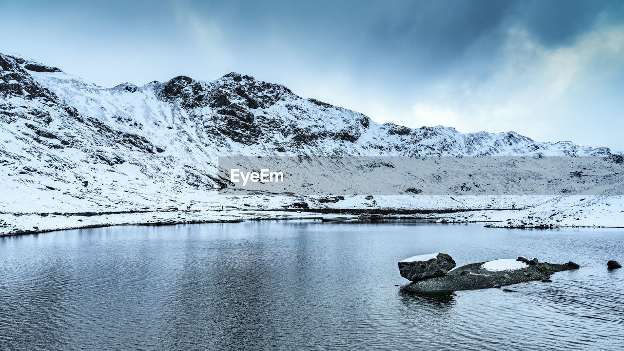 scenics - nature, beauty in nature, water, sky, cold temperature, tranquil scene, mountain, winter, tranquility, snow, non-urban scene, cloud - sky, idyllic, lake, nature, mountain range, environment, day, no people, snowcapped mountain, ice