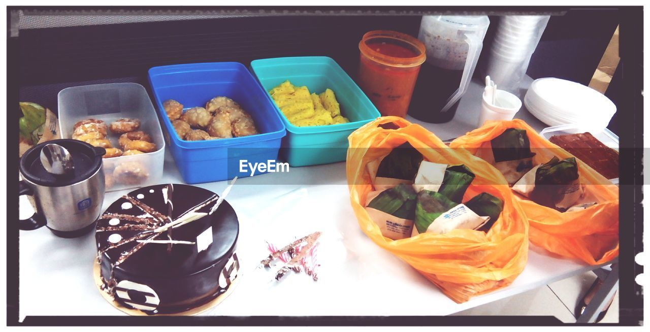 high angle view, food, container, food and drink, variation, choice, no people, indoors, freshness, day