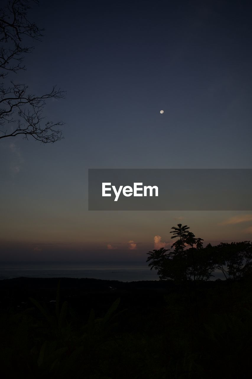 sky, beauty in nature, scenics - nature, moon, tranquil scene, tranquility, silhouette, tree, sunset, plant, nature, no people, idyllic, non-urban scene, night, outdoors, landscape, astronomy, space, orange color, full moon, moonlight