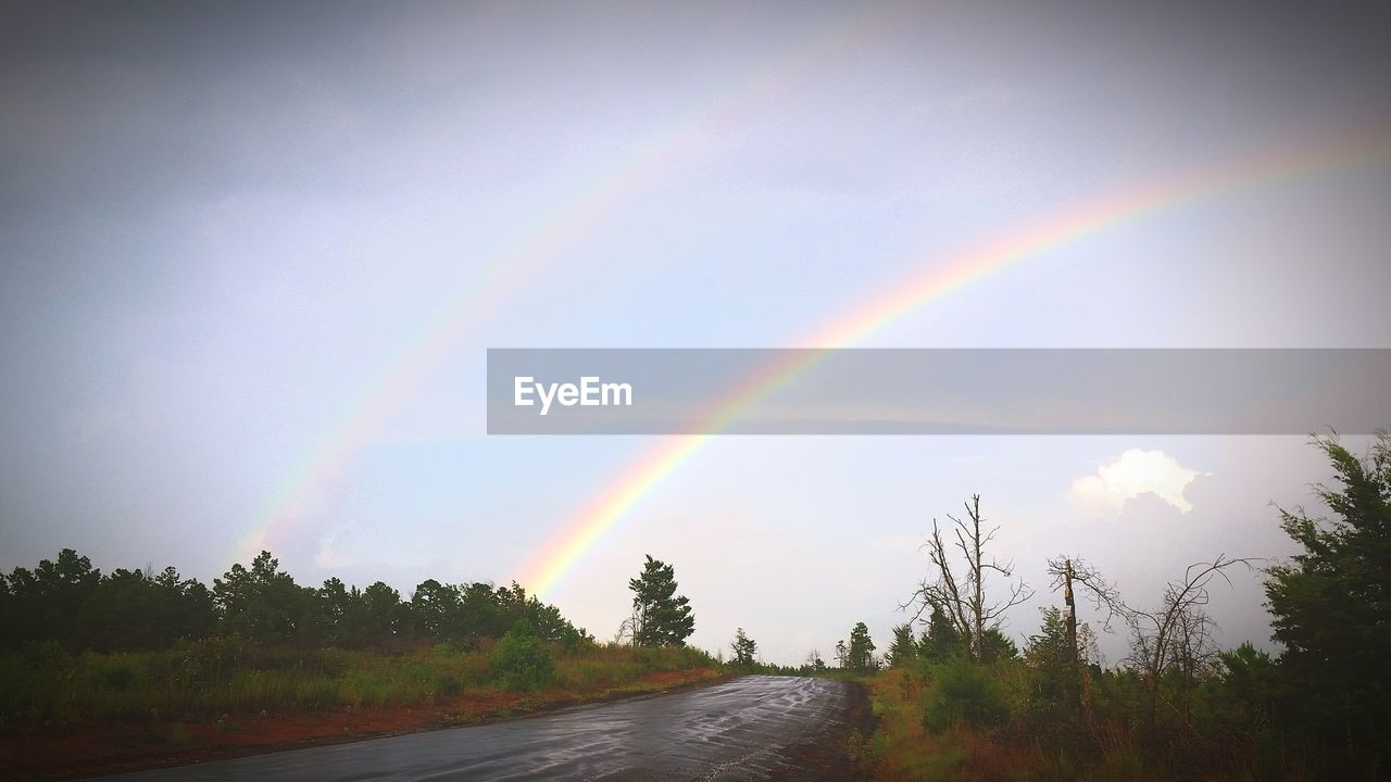 rainbow, double rainbow, scenics, nature, sky, tranquility, beauty in nature, multi colored, idyllic, tree, no people, tranquil scene, the way forward, day, outdoors, cloud - sky, road, landscape, spectrum