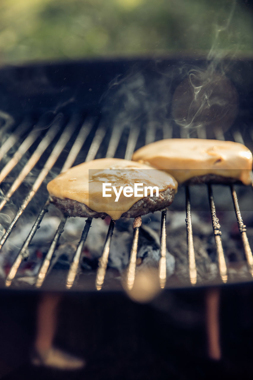 CLOSE-UP OF MUSHROOM GROWING ON BARBECUE
