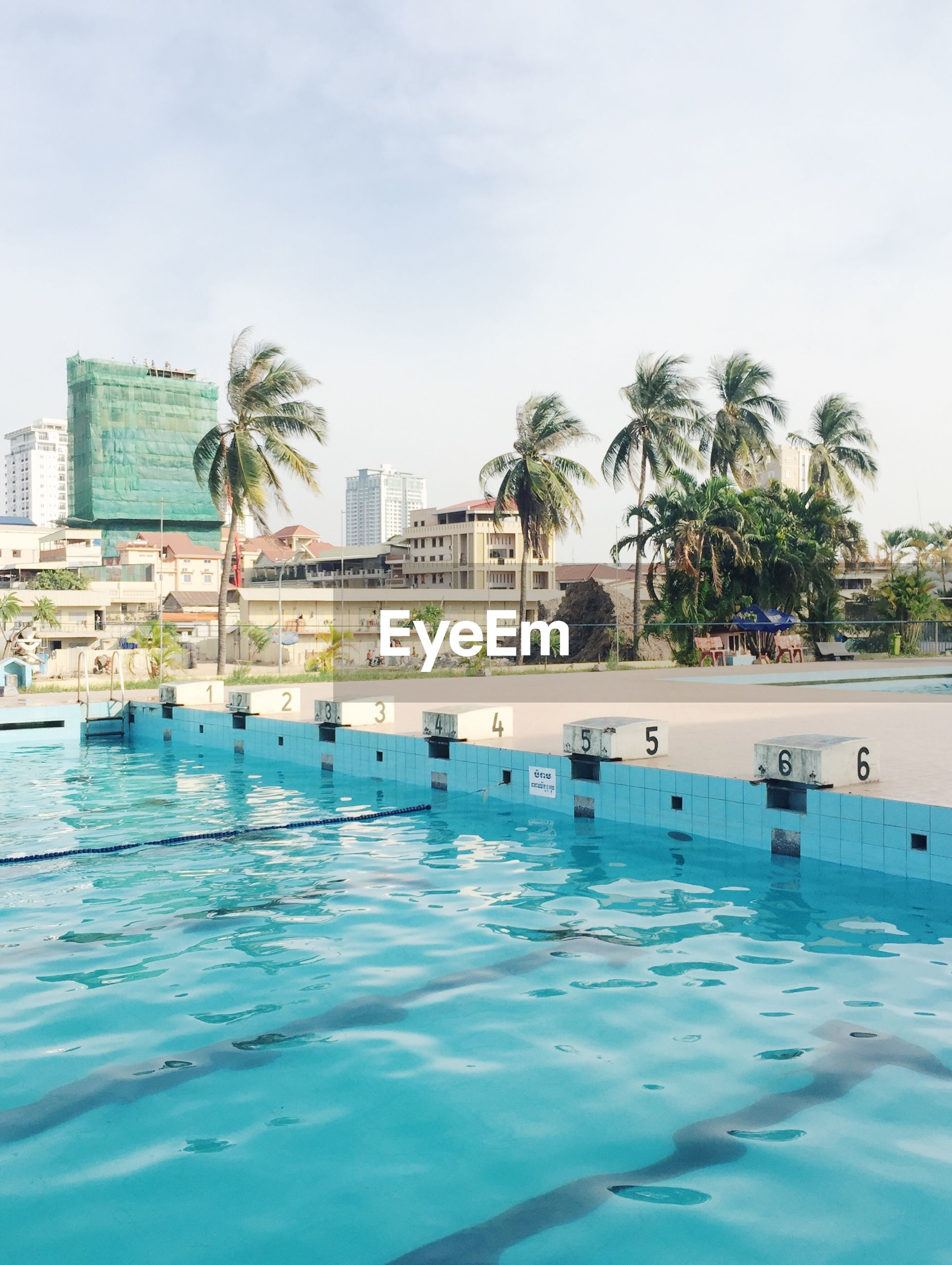 Swimming pool by coconut palm trees in city against sky