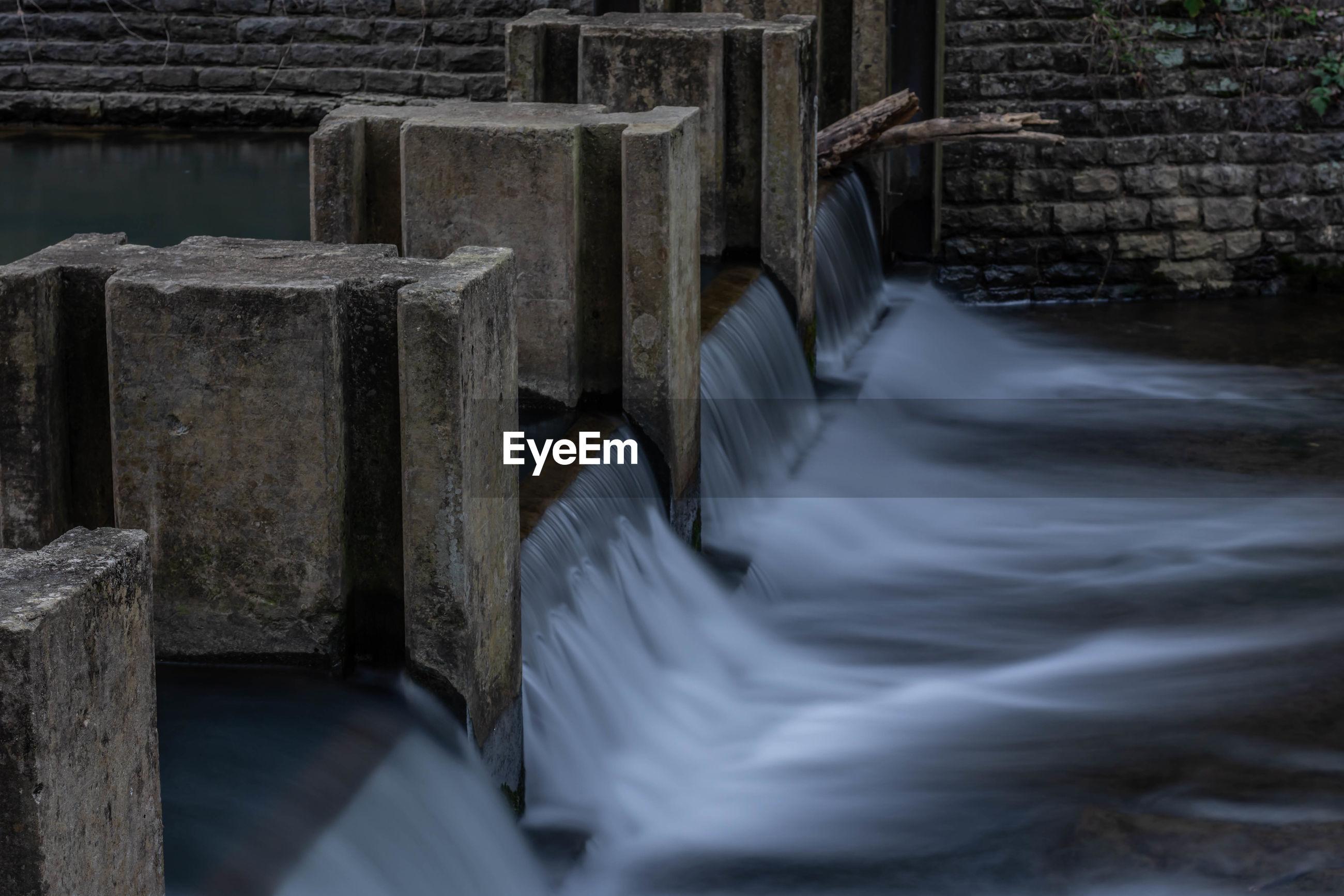 Long exposure of foot of dam