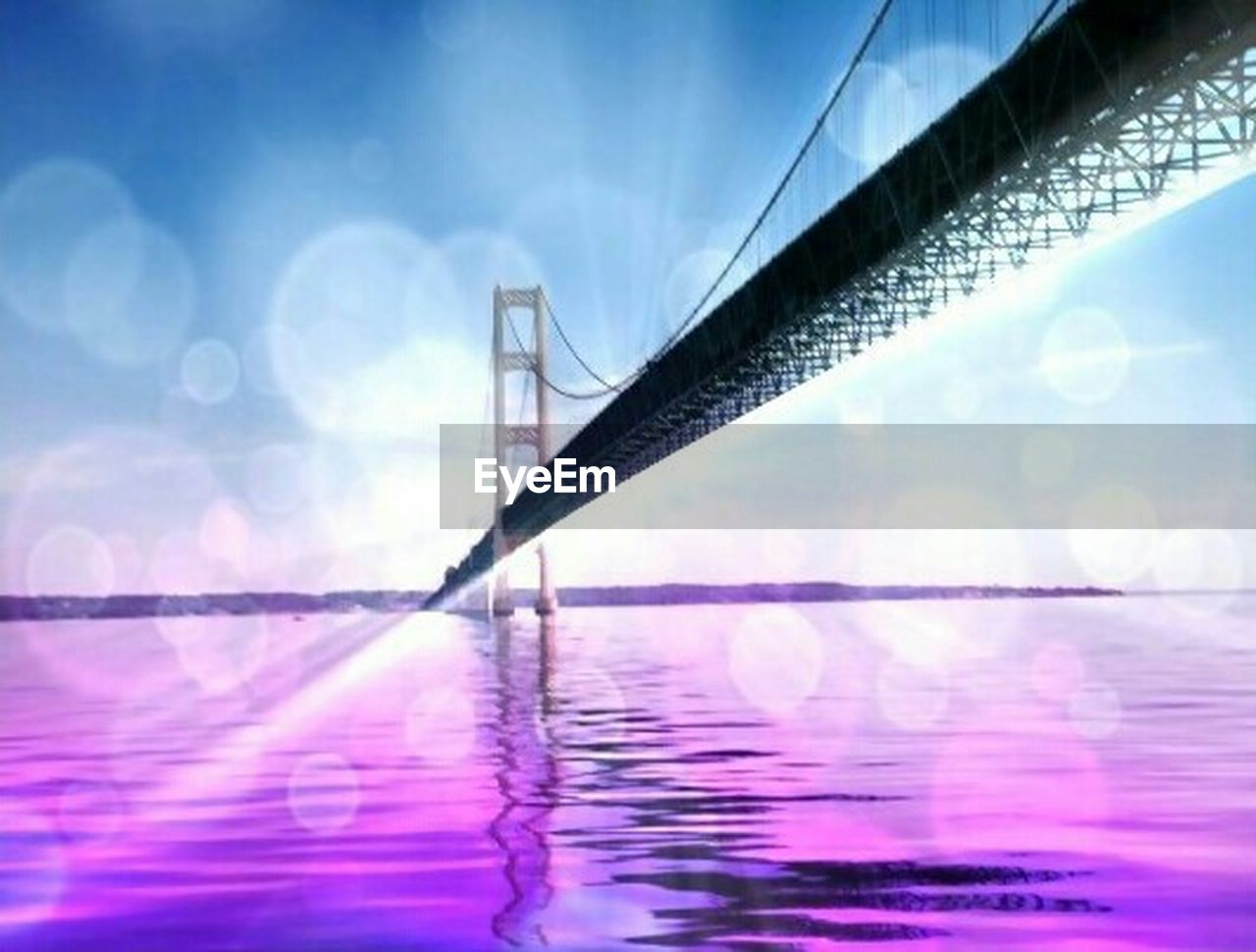 reflection, water, sky, architecture, defocused, cloud - sky, travel destinations, bridge - man made structure, no people, blue, outdoors, built structure, skyscraper, illuminated, modern, day, city