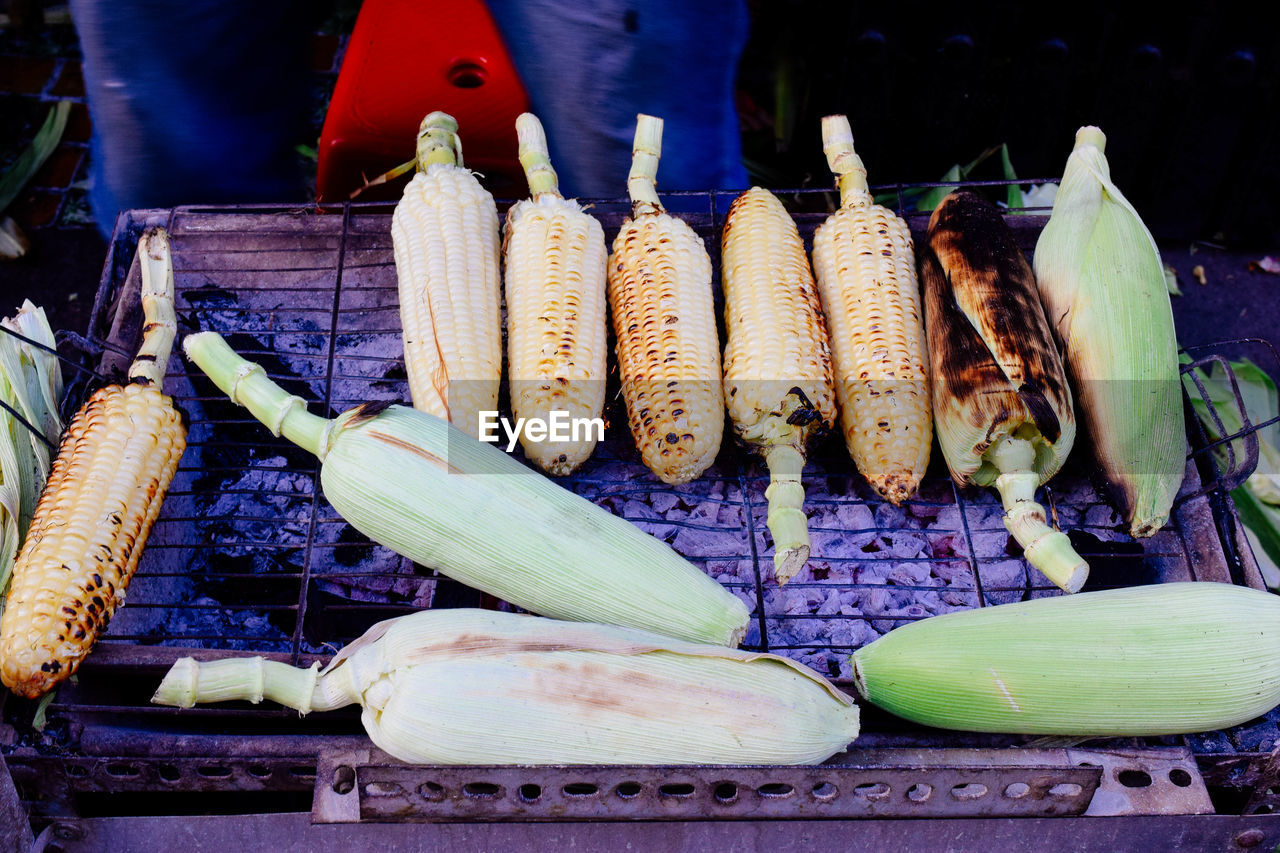 Close-Up High Angle View Of Corn Cobs