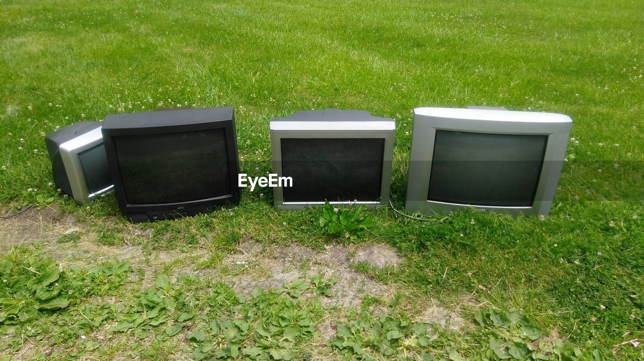 grass, television set, field, green color, no people, day, growth, outdoors, nature