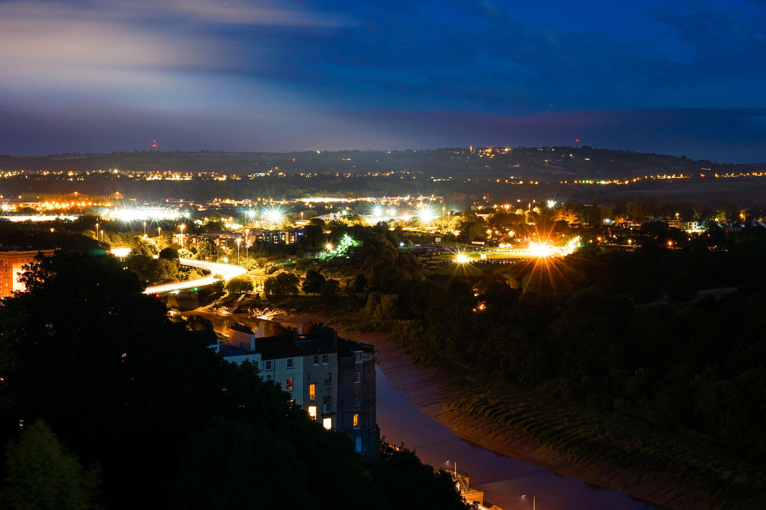 Illuminated town
