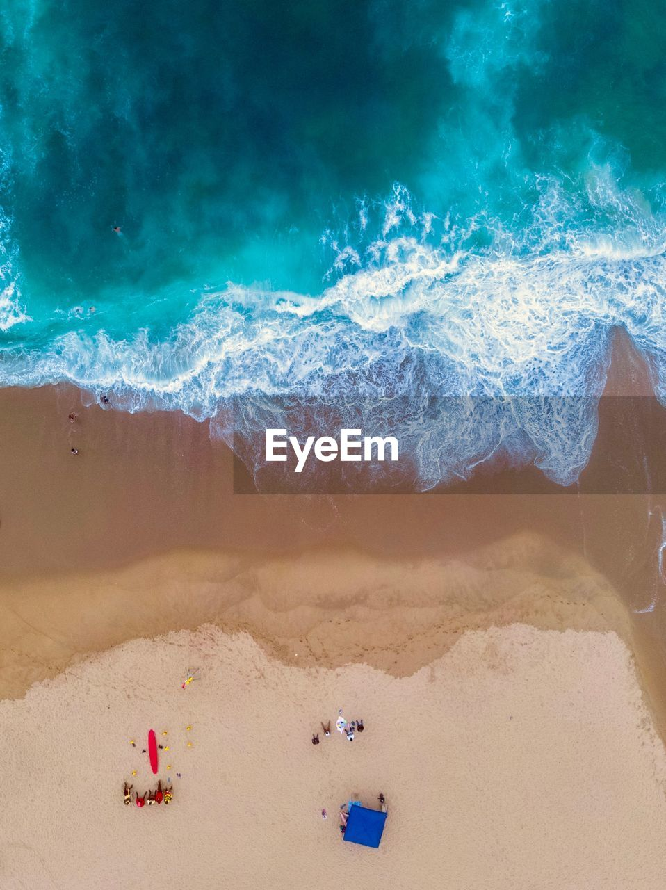 sea, land, sand, beach, water, wave, nature, aquatic sport, vacations, surfing, beauty in nature, trip, motion, holiday, high angle view, scenics - nature, sport, day, outdoors, power in nature