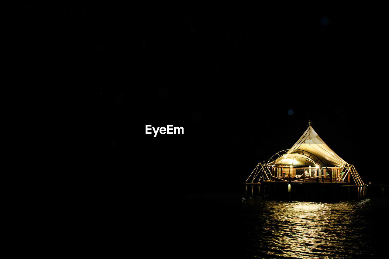 copy space, water, waterfront, sky, no people, night, architecture, illuminated, tranquility, sea, built structure, clear sky, nautical vessel, scenics - nature, nature, tranquil scene, outdoors, beauty in nature, building exterior