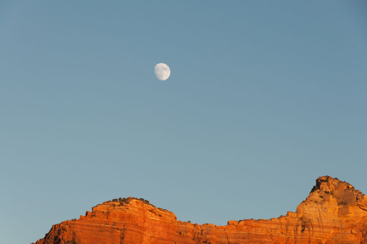 moon, nature, low angle view, copy space, beauty in nature, clear sky, no people, outdoors, scenics, blue, tranquility, astronomy, day, sky