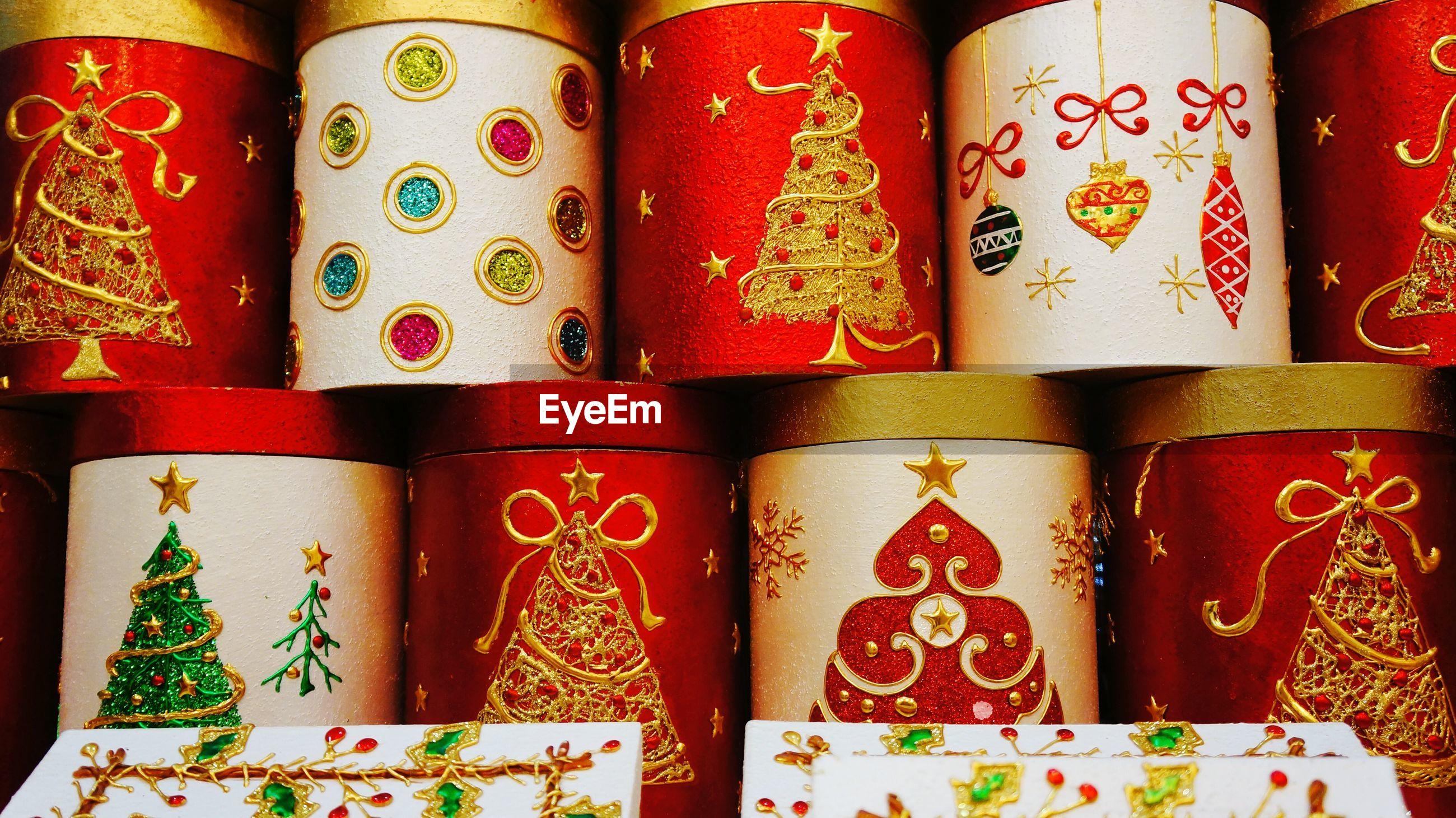 Full frame shot of christmas decorations