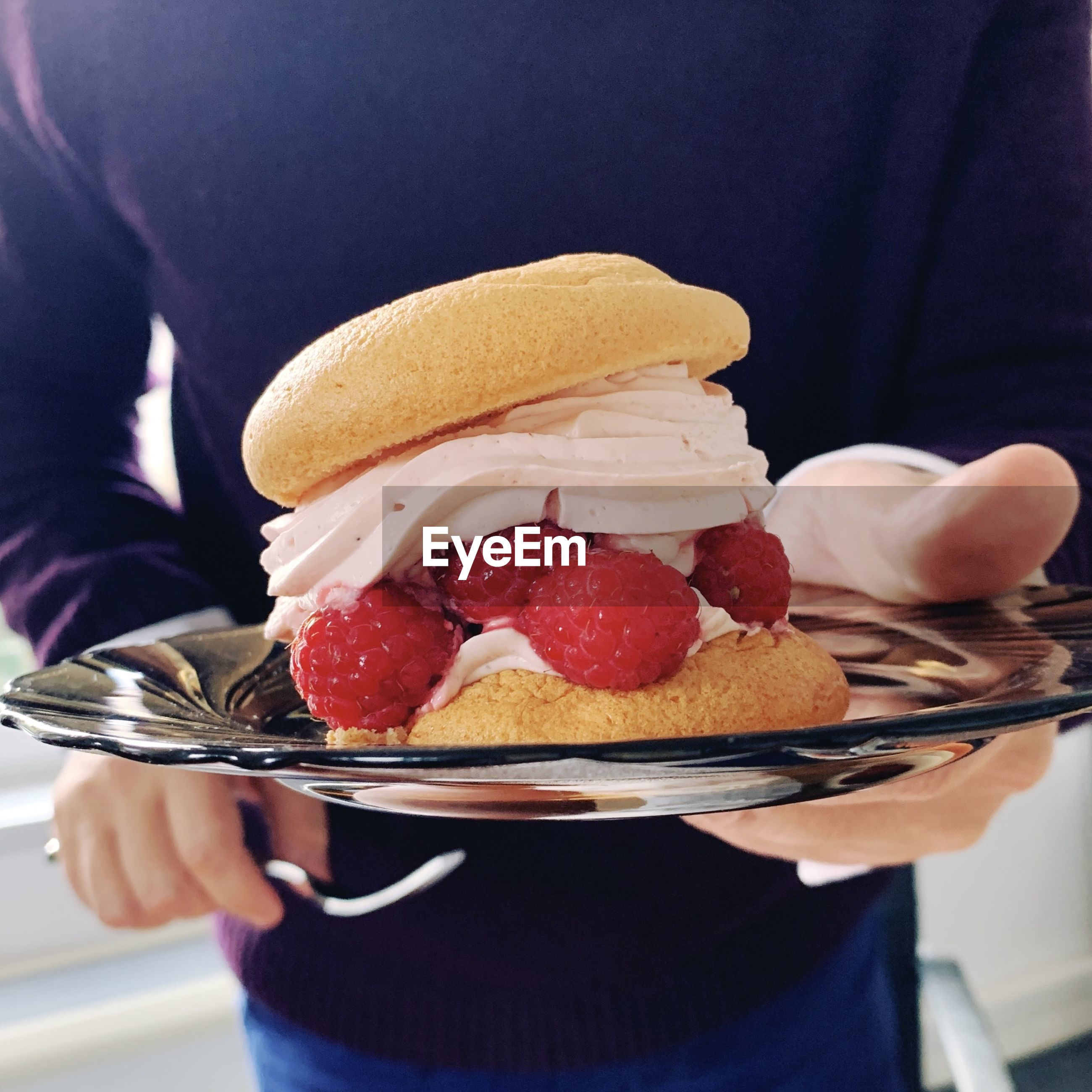 MIDSECTION OF PERSON HOLDING ICE CREAM IN CAKE