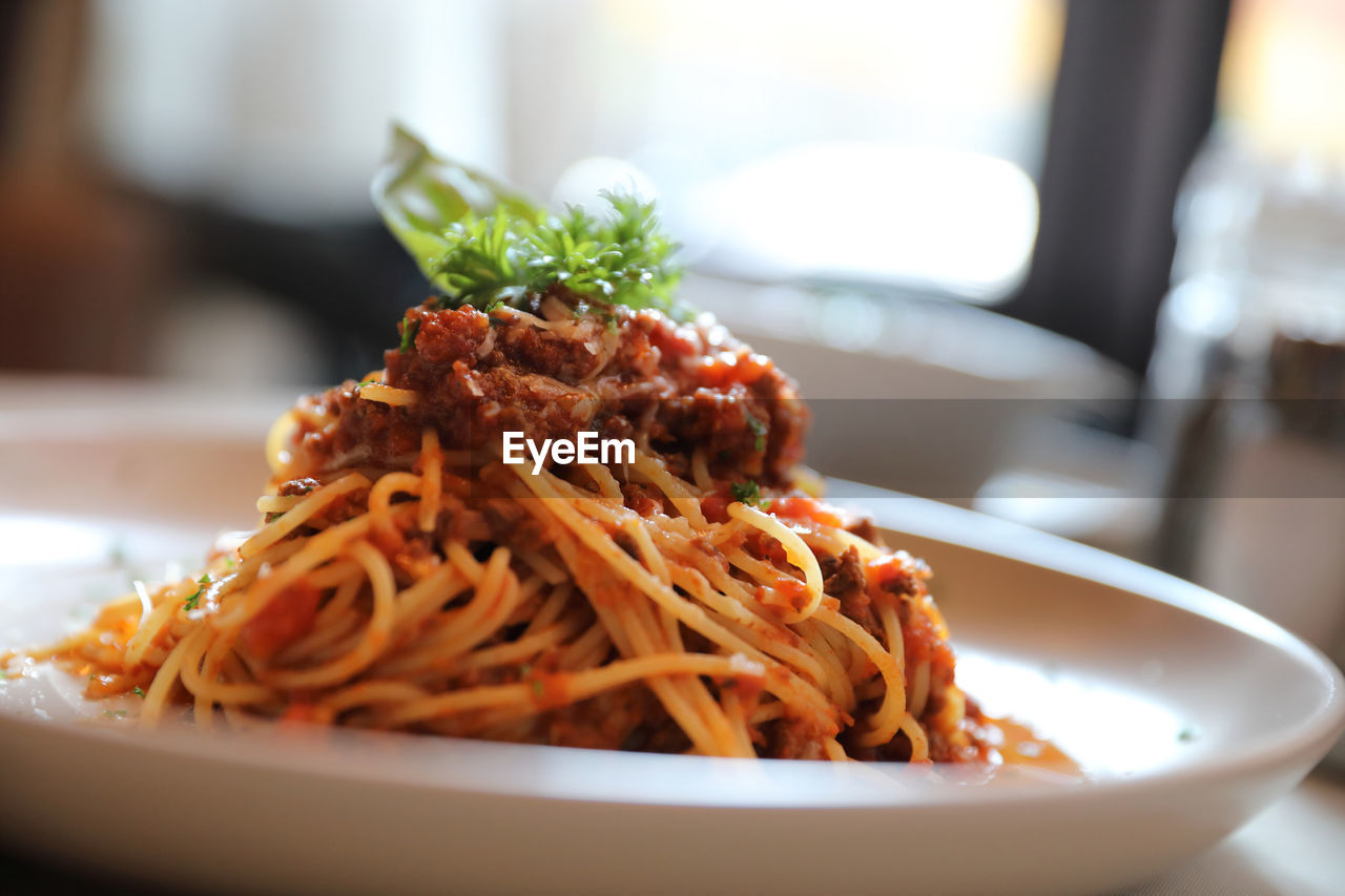 CLOSE-UP OF PASTA IN PLATE