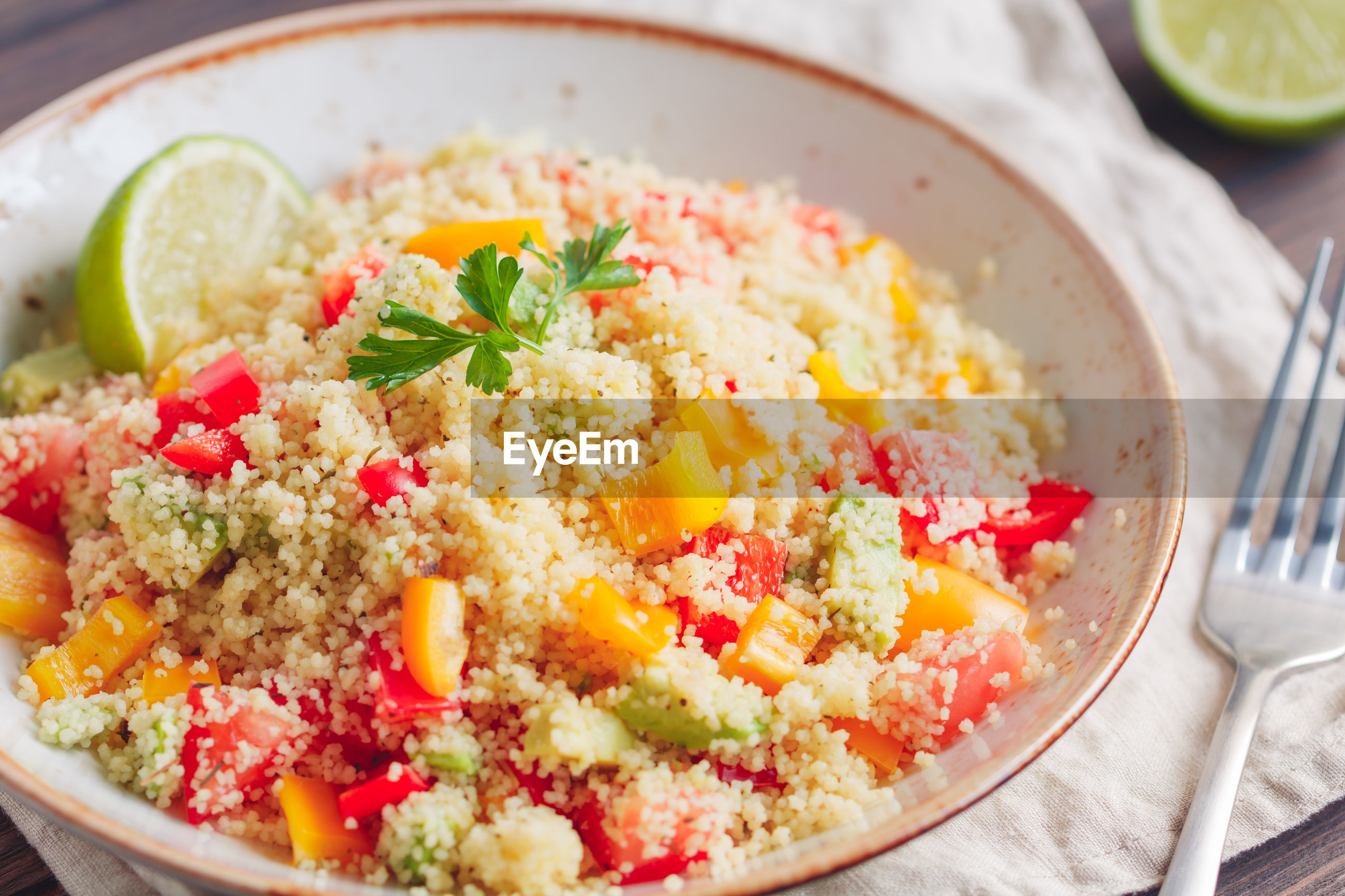 High angle view of couscous served in plate on table
