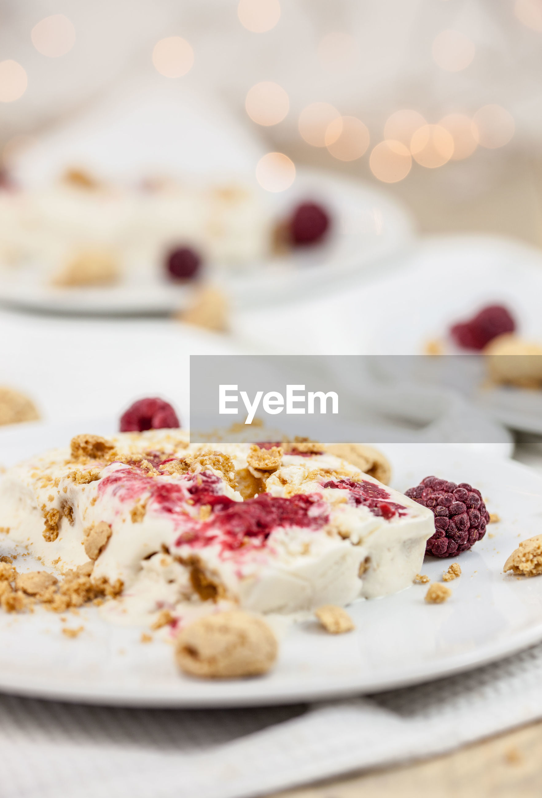 High angle view of cheesecake served in plate on table