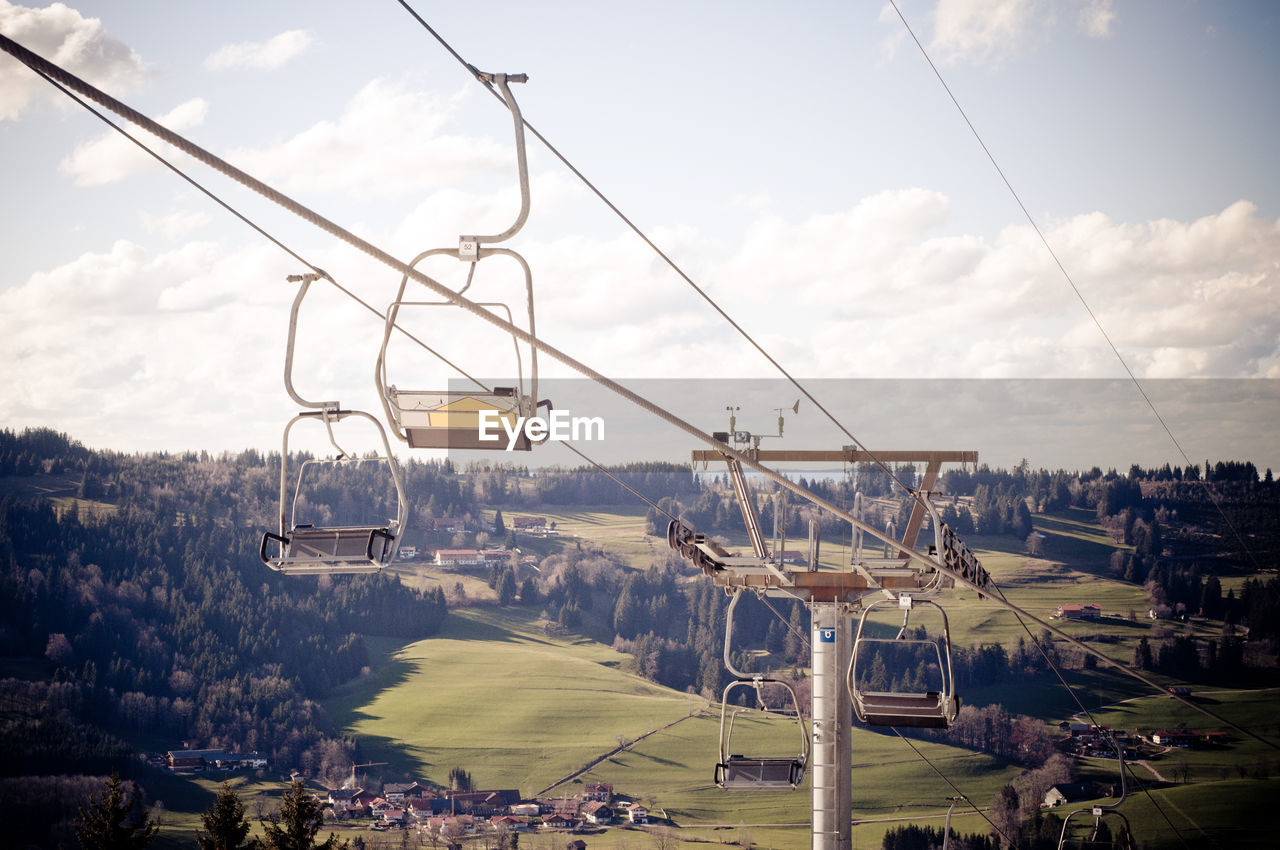 Overhead Cable Car With Landscape In Background