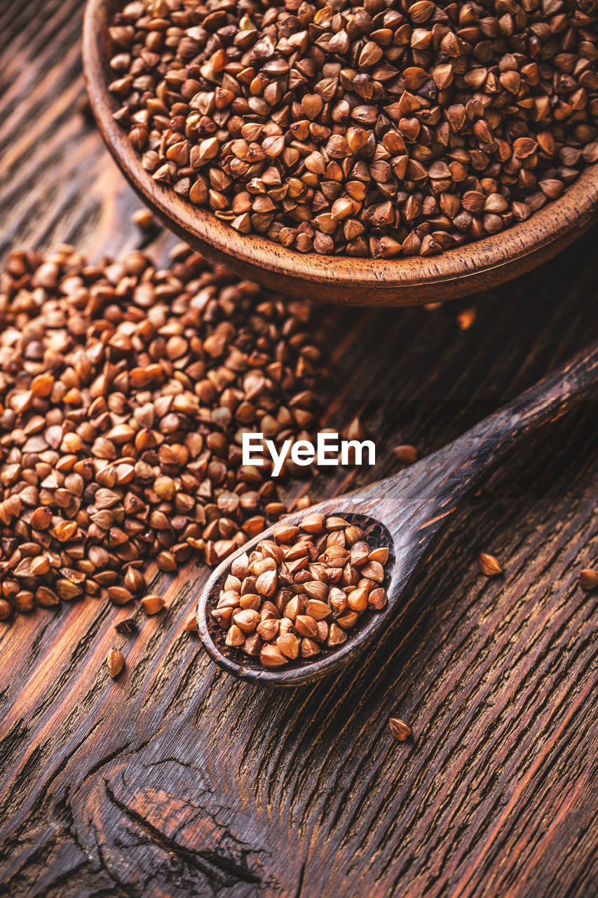 food and drink, brown, food, still life, no people, freshness, table, indoors, high angle view, spoon, wood - material, eating utensil, kitchen utensil, close-up, roasted coffee bean, wellbeing, coffee - drink, coffee, raw food, focus on foreground, wooden spoon, vegetarian food
