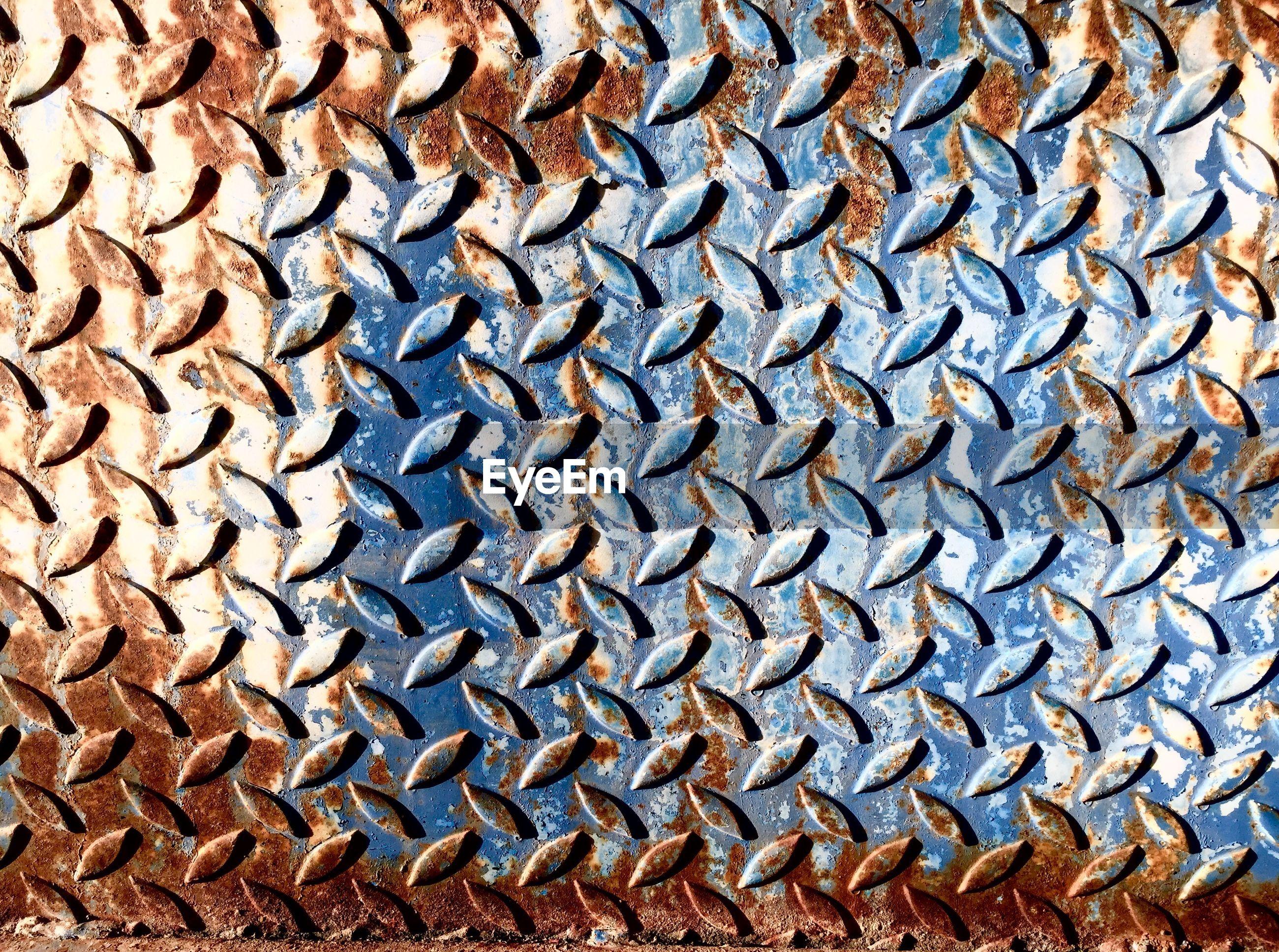 Full frame shot of rusty diamond plate