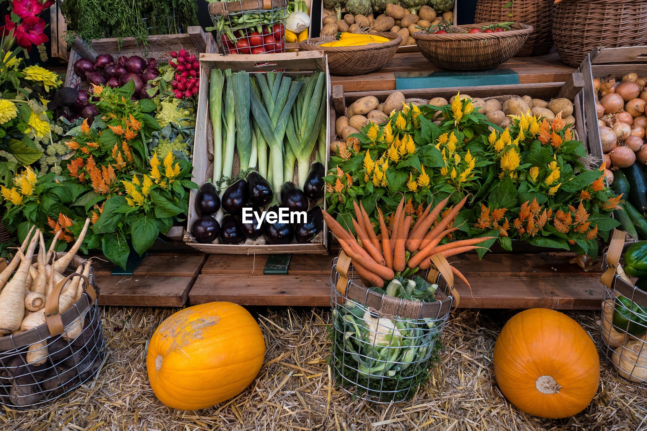 Various vegetables for sale at market